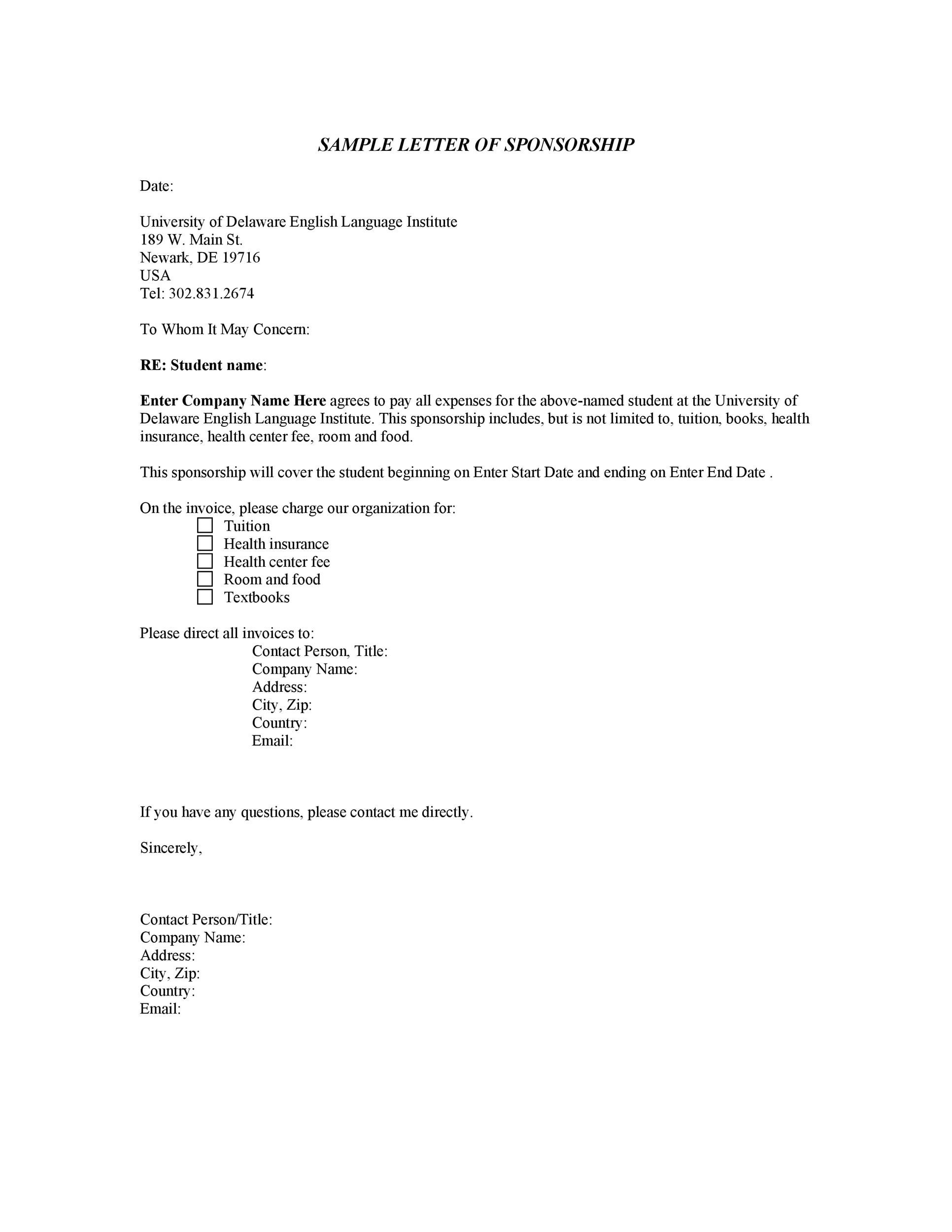 Printable Sponsorship Letter Template 04  Letter Of Sponsorship Template