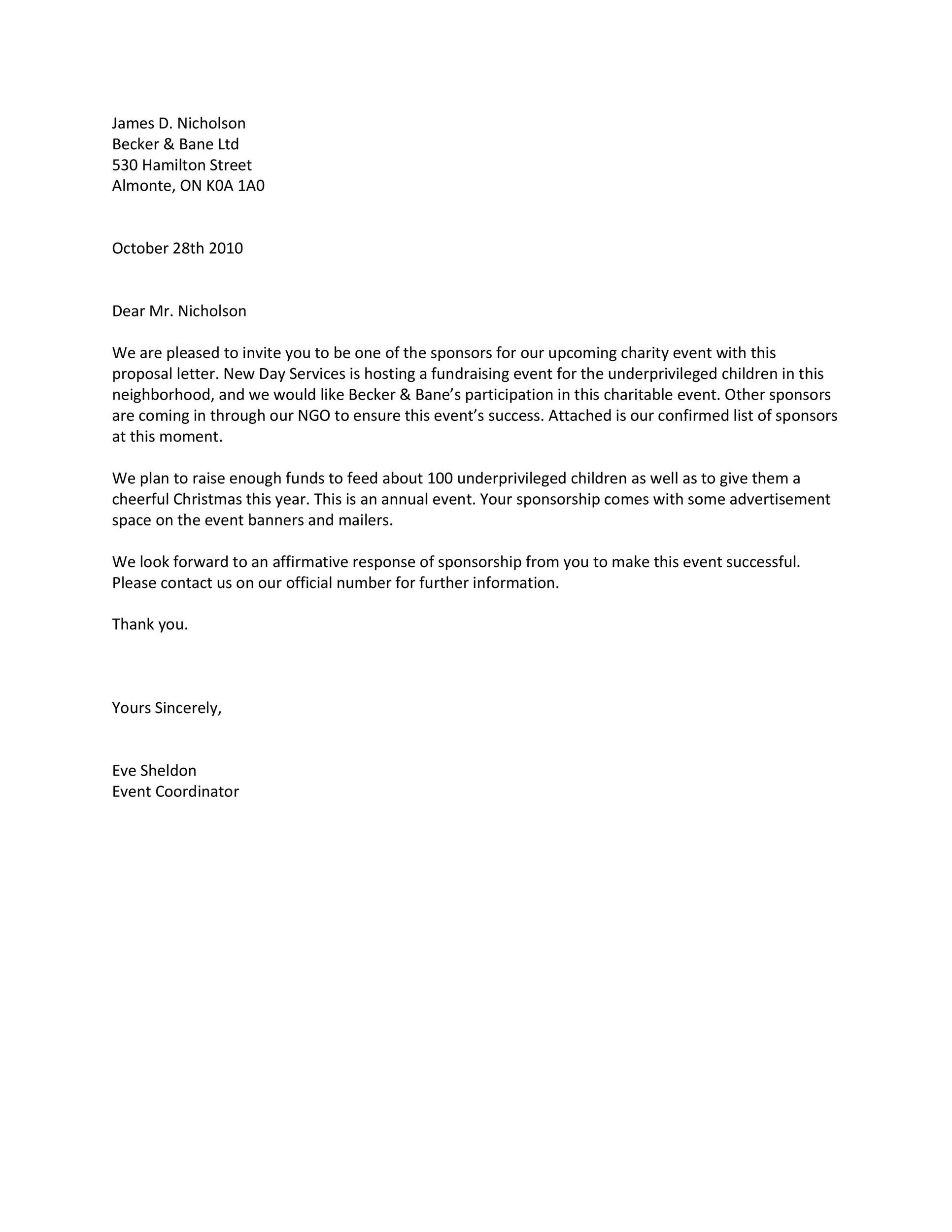 Proposal letter for sponsorship sample for event