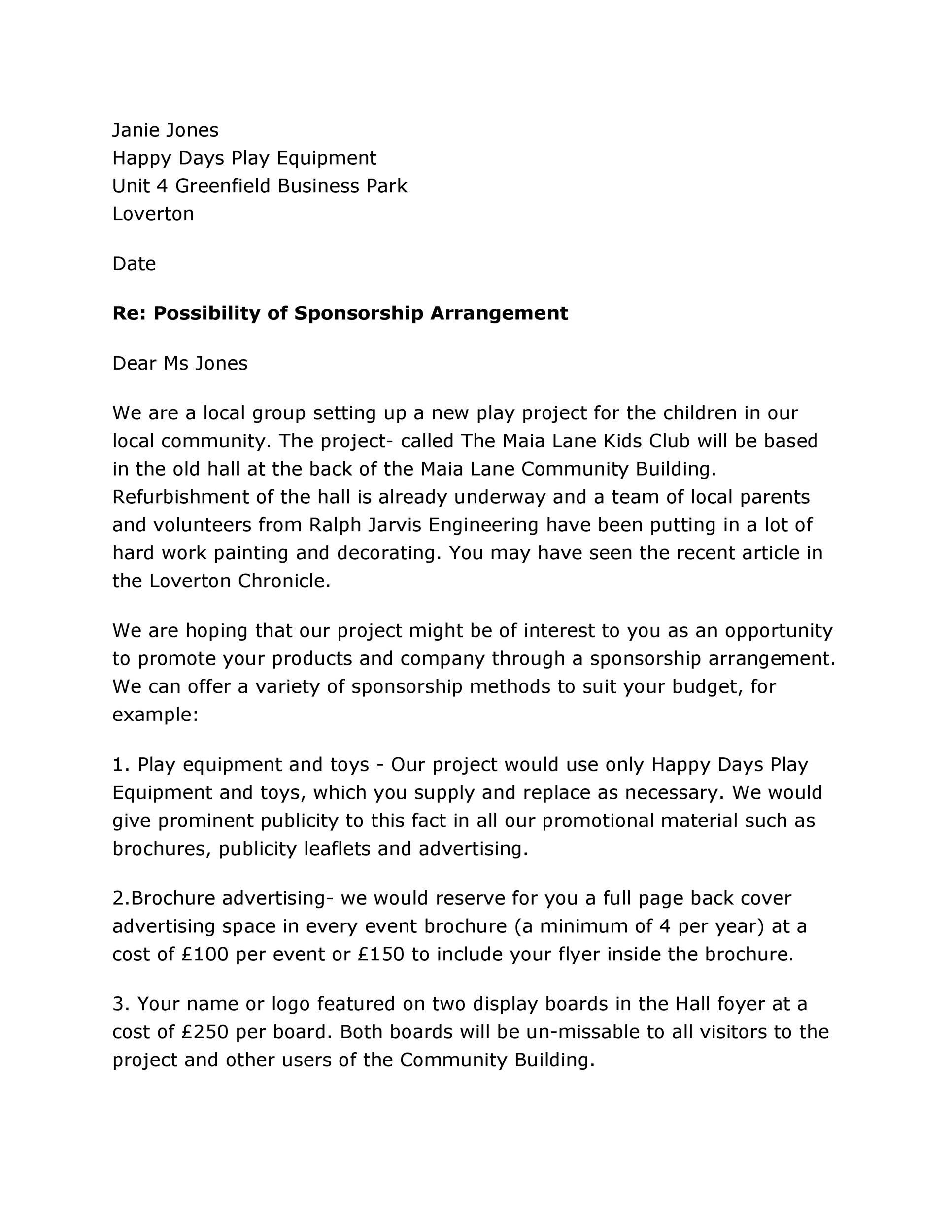 Free Sponsorship Letter Template 14
