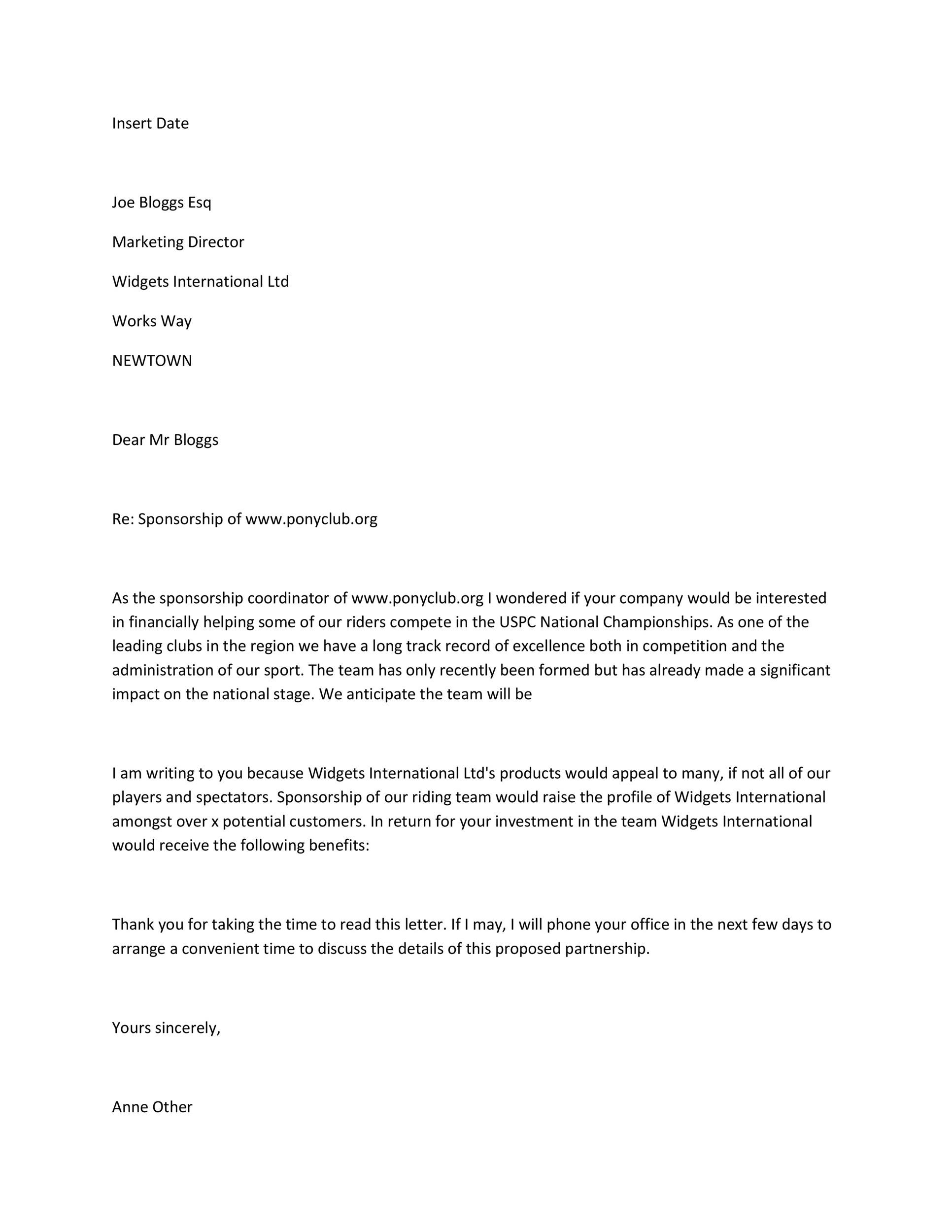 Perfect Printable Sponsorship Letter Template 18 Regard To Application For Sponsorship Template