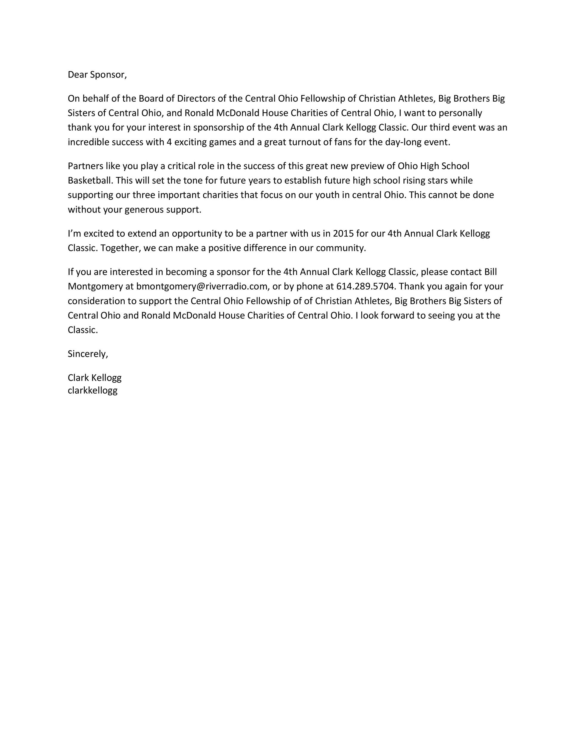 Free Sponsorship Letter Template 20