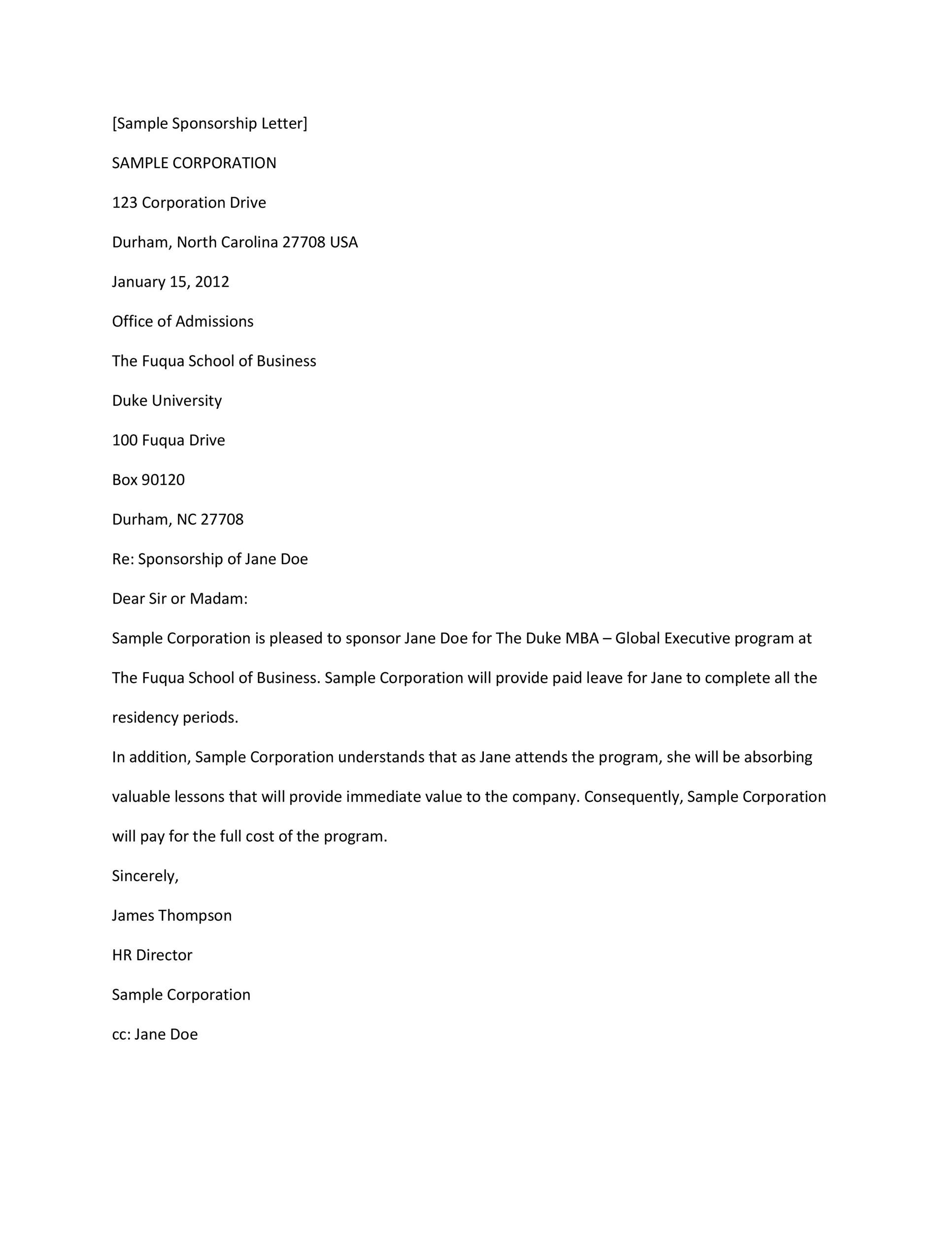 sponsorship letter template 24 - Sample Email Cover Letter