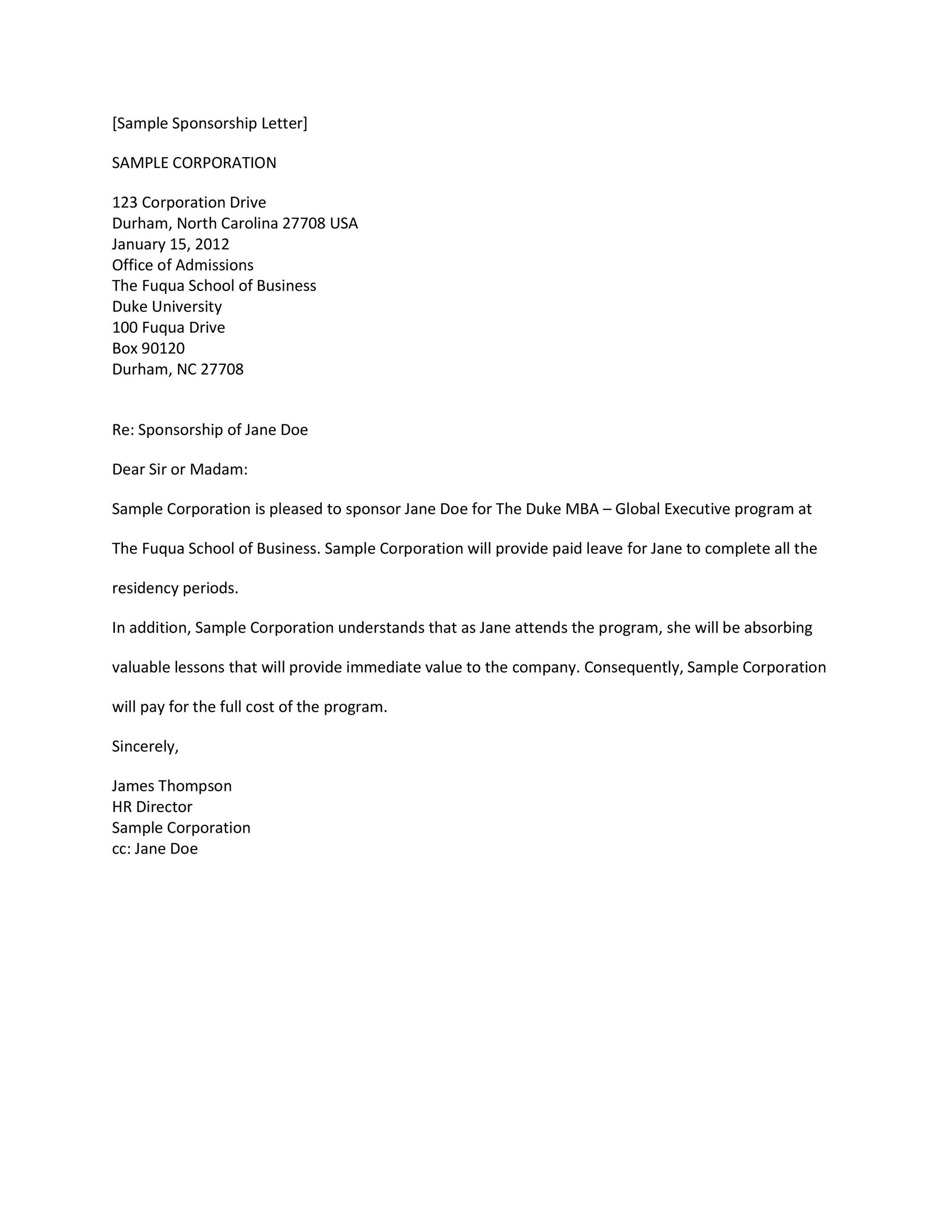 Printable Sponsorship Letter Template 25  How To Write Sponsorship Letter
