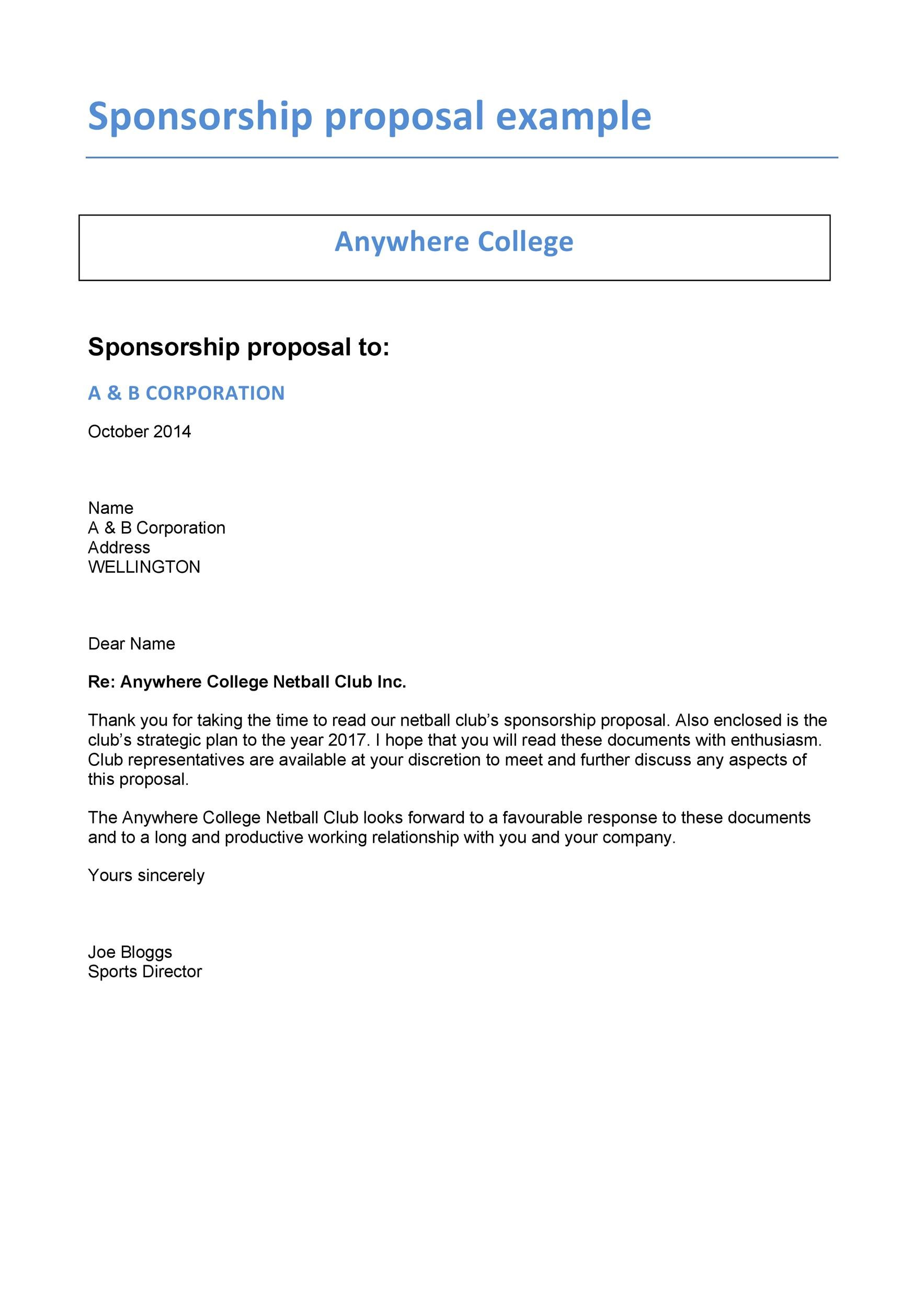 40 Sponsorship Letter Sponsorship Proposal Templates – Format of a Sponsorship Letter