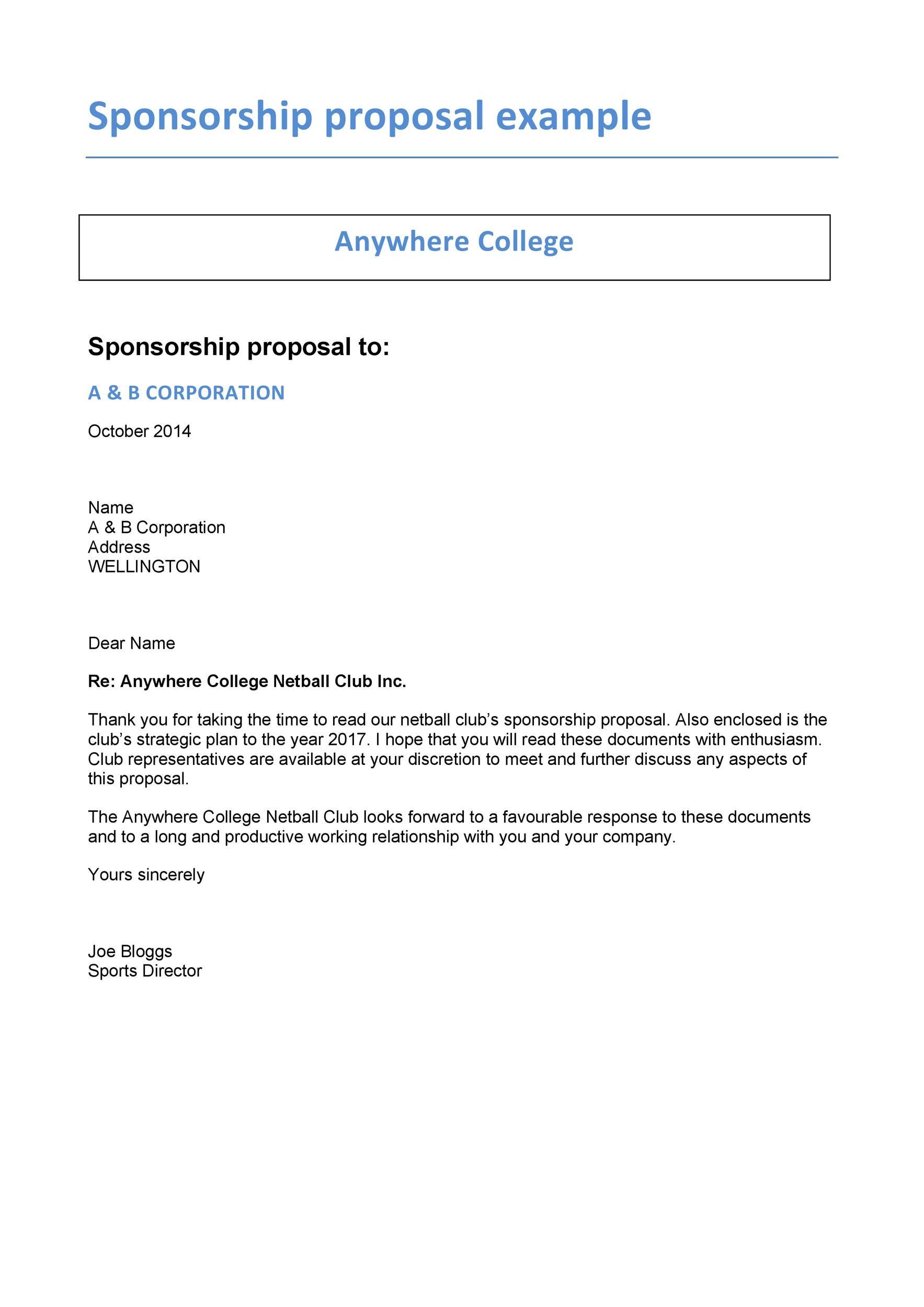 Free Sponsorship Letter Template 35
