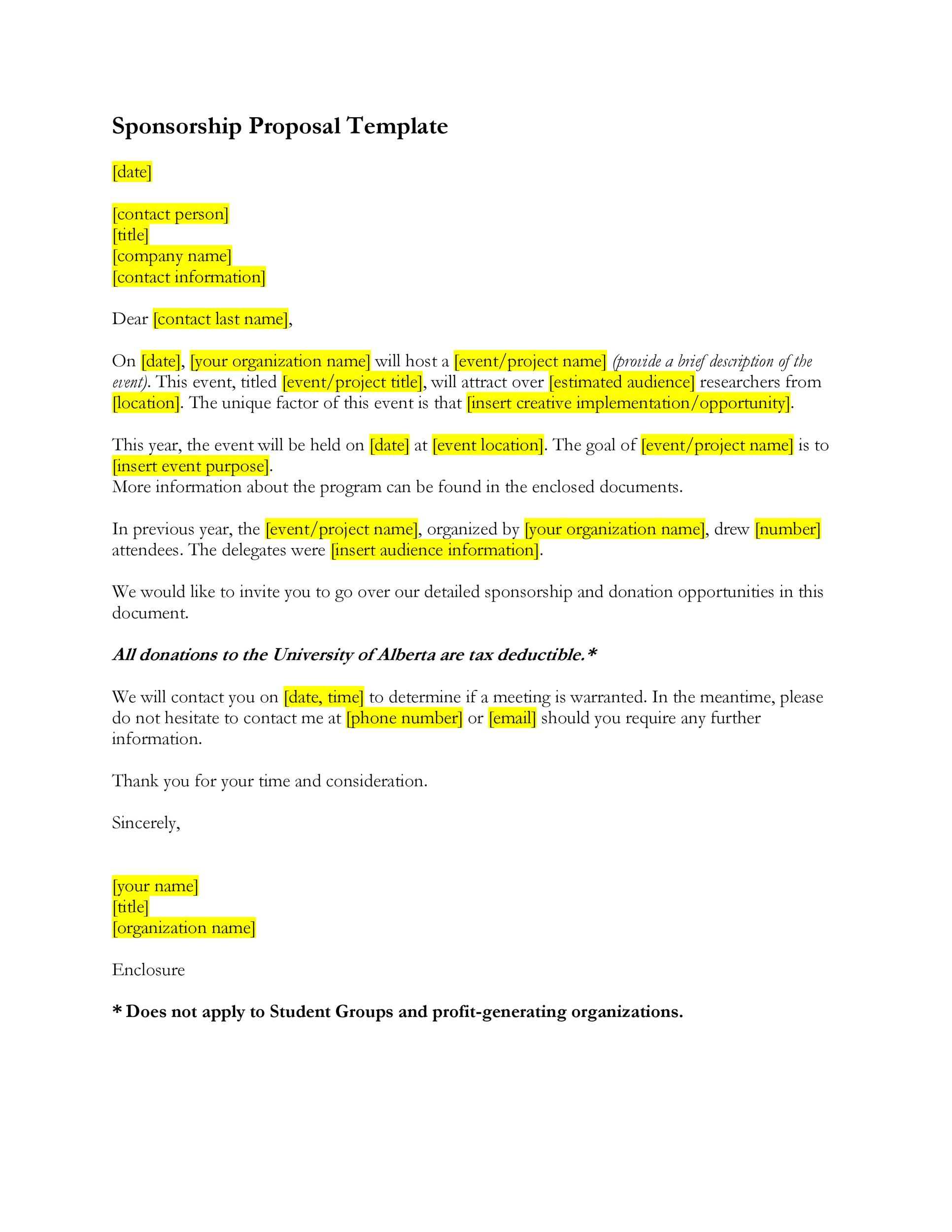 40 Sponsorship Letter Sponsorship Proposal Templates – Sponsorship Proposal Template