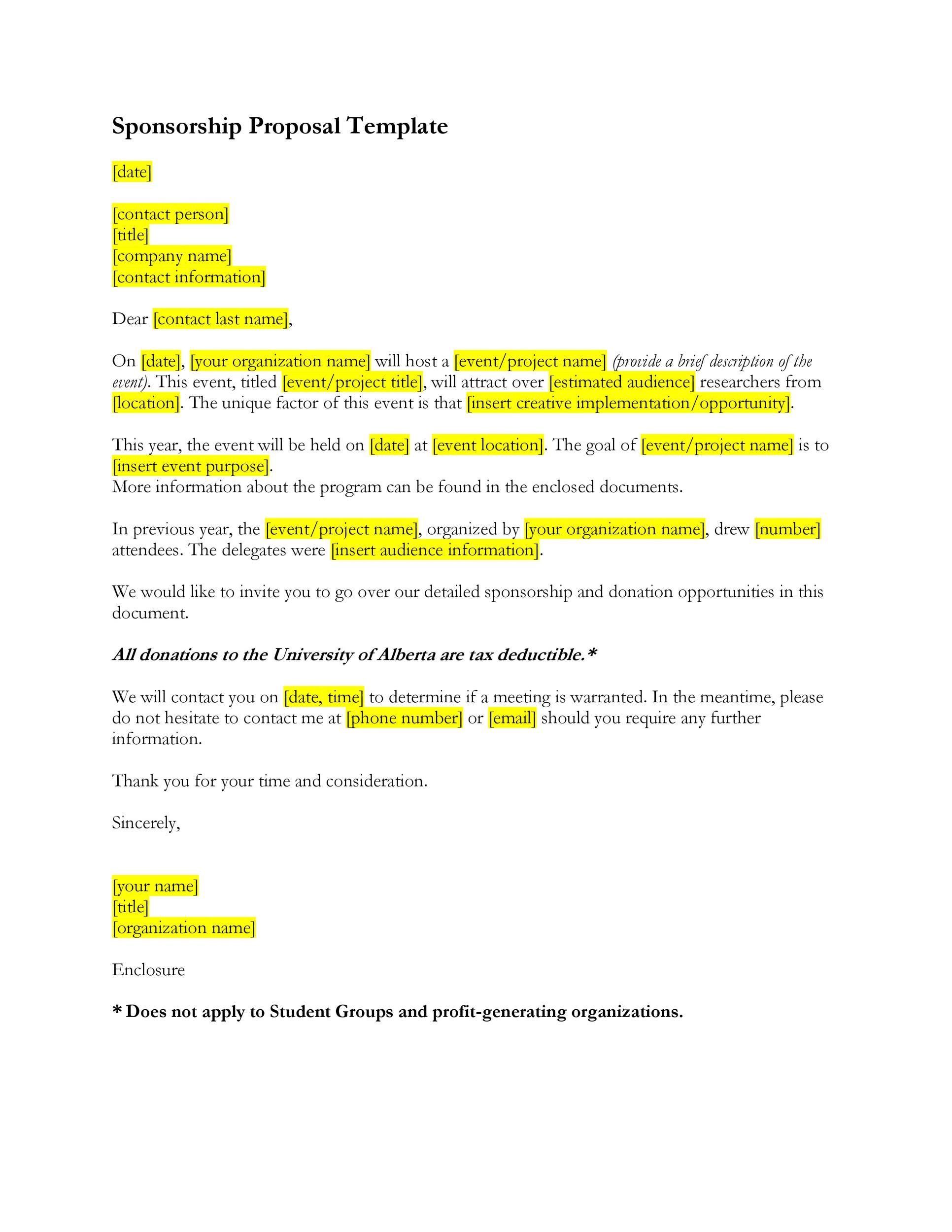 Free Sponsorship Letter Template 43
