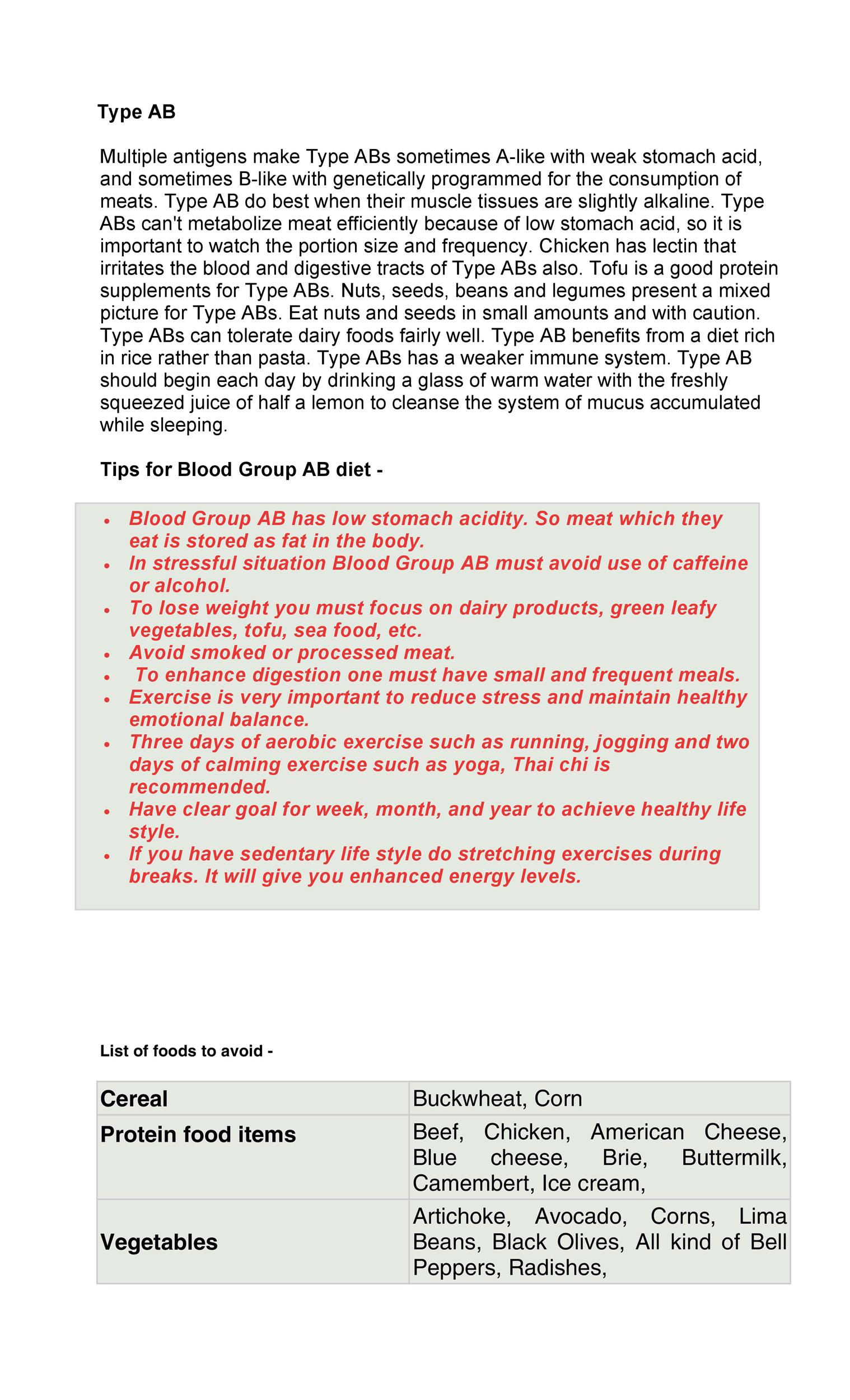 Free Blood Type Diet Chart 26