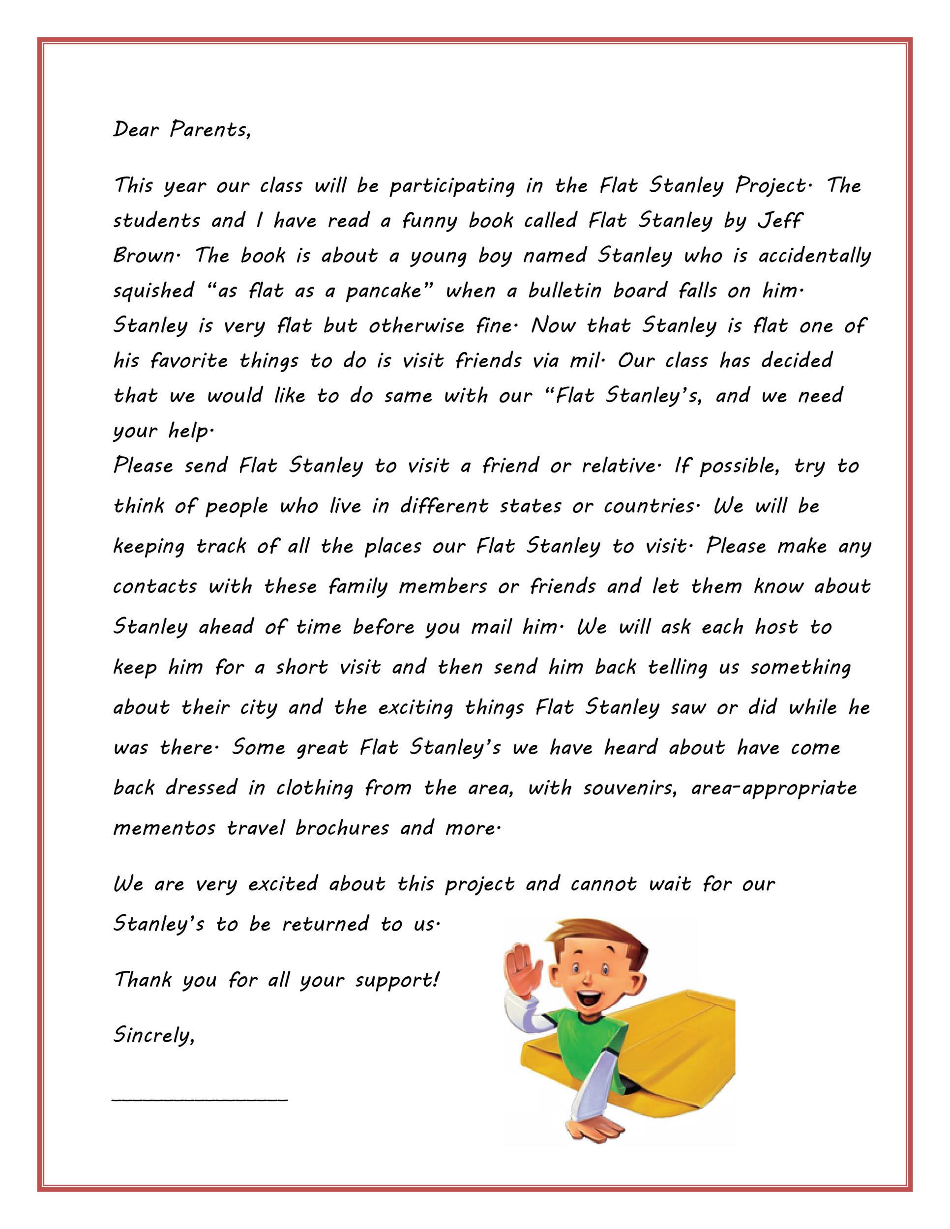 37 Flat Stanley Templates & Letter Examples - Template Lab