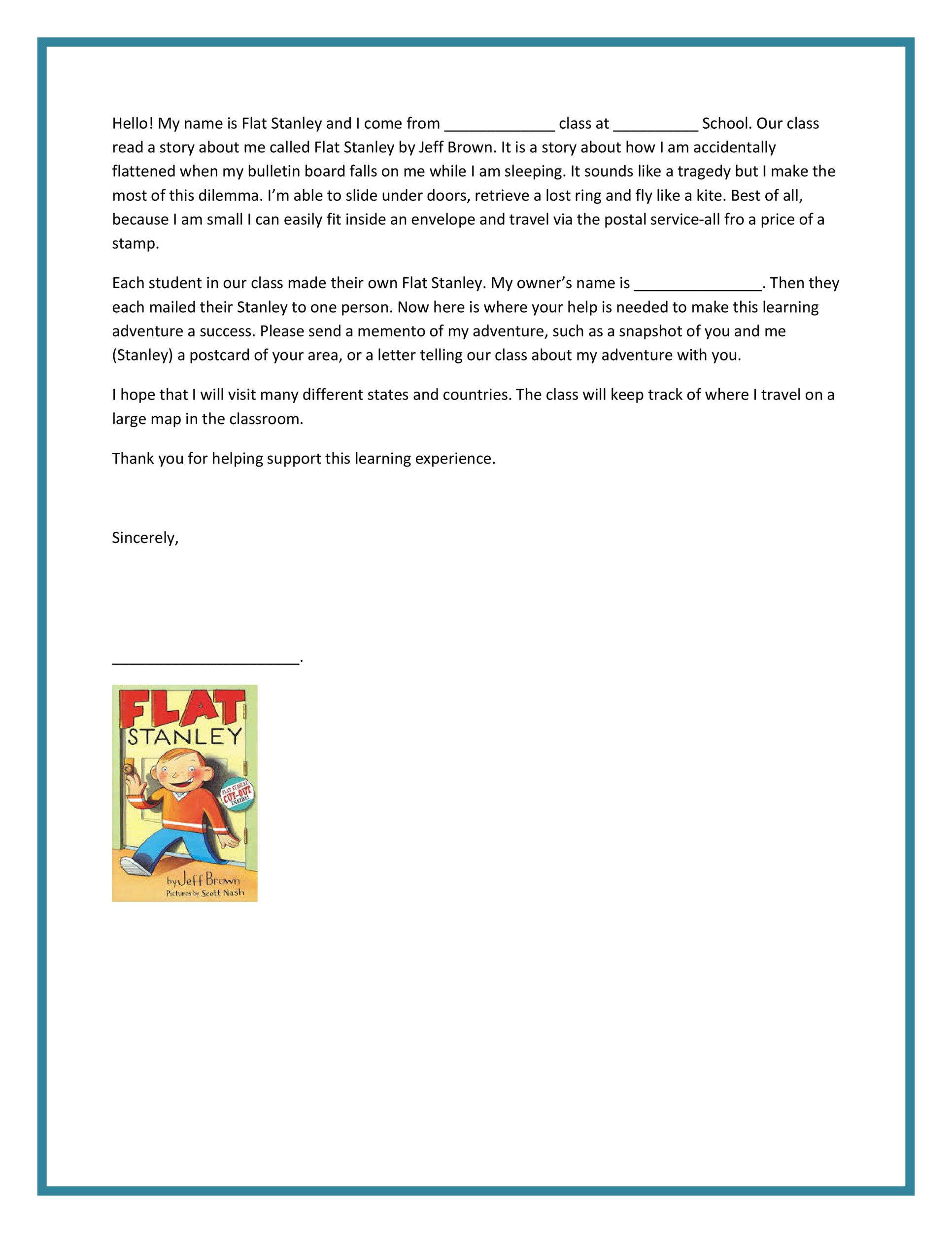 flat stanley letter template - Mersn.proforum.co