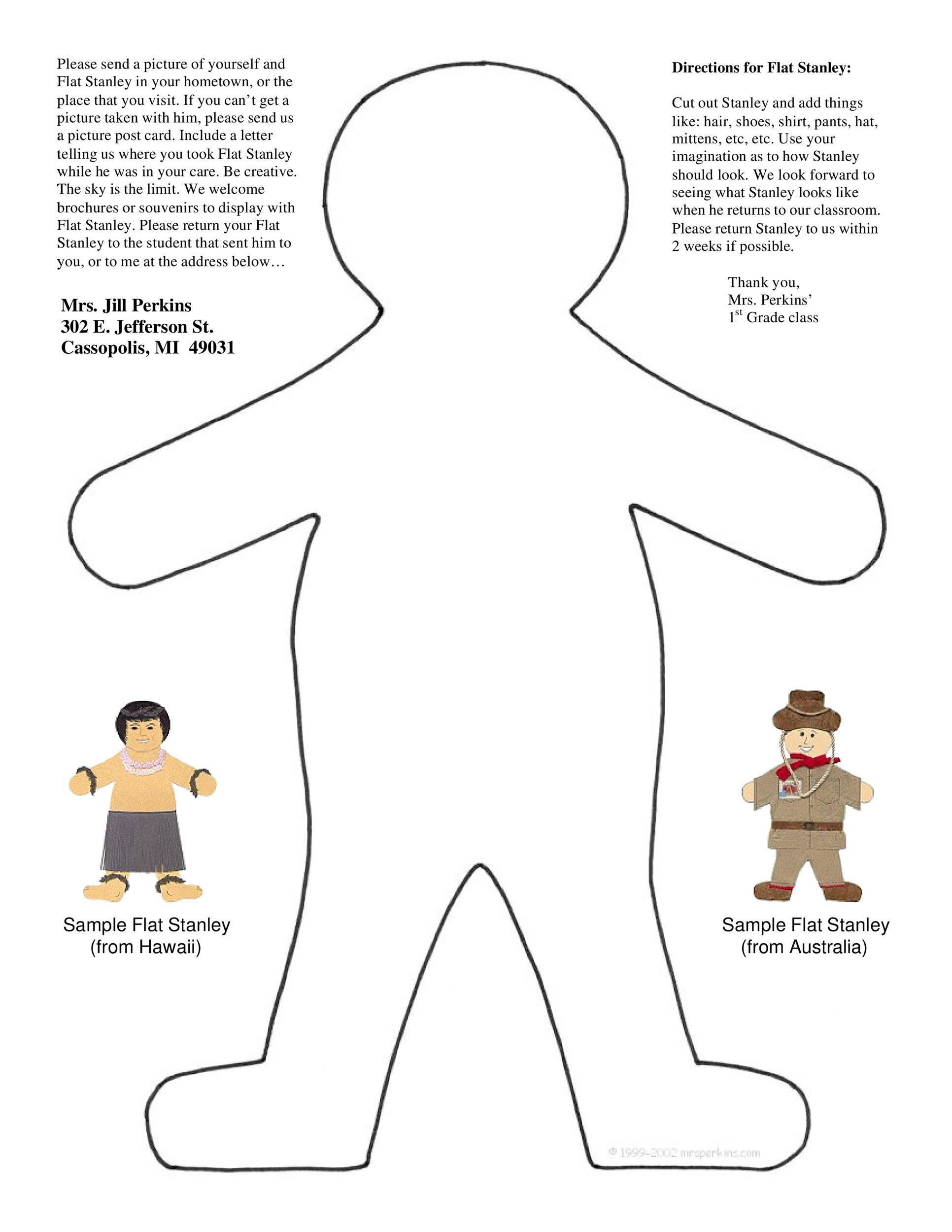 photo regarding Thing 1 and Thing 2 Printable Cutouts known as 37 Flat Stanley Templates Letter Illustrations ᐅ Template Lab