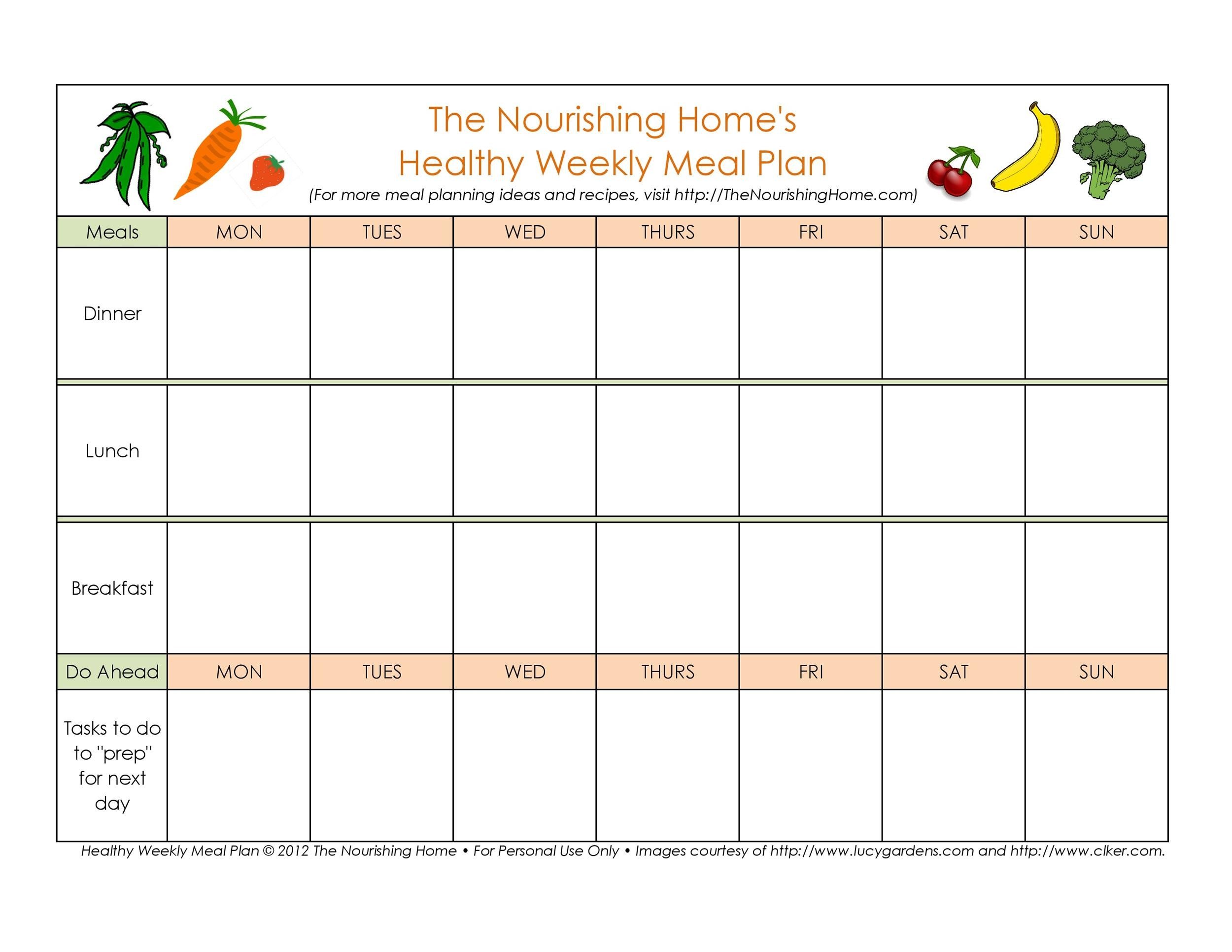 image relating to Free Printable Meal Planner Template called 40+ Weekly Supper Creating Templates ᐅ Template Lab
