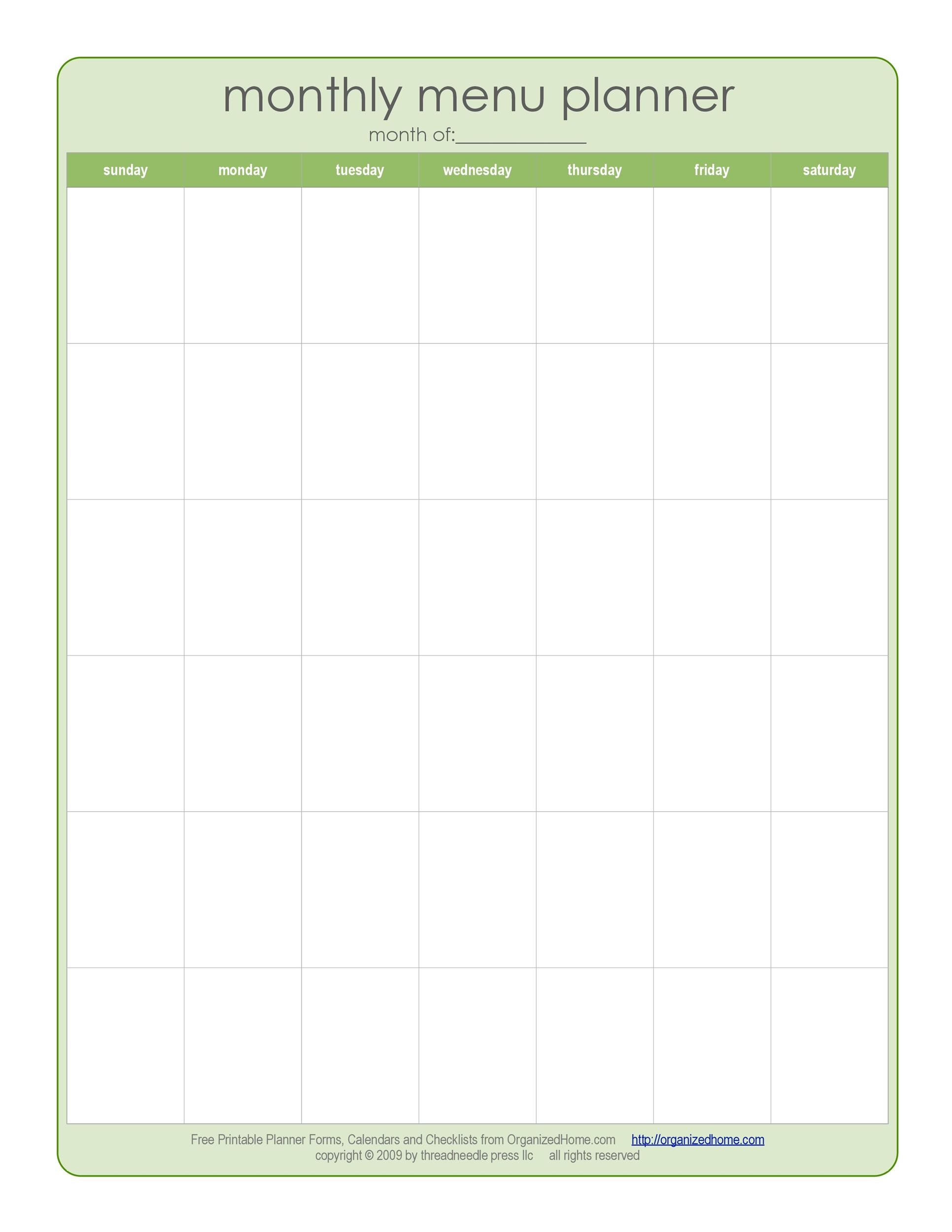 Printable Meal Plan Template 07  Menu Calendar Template
