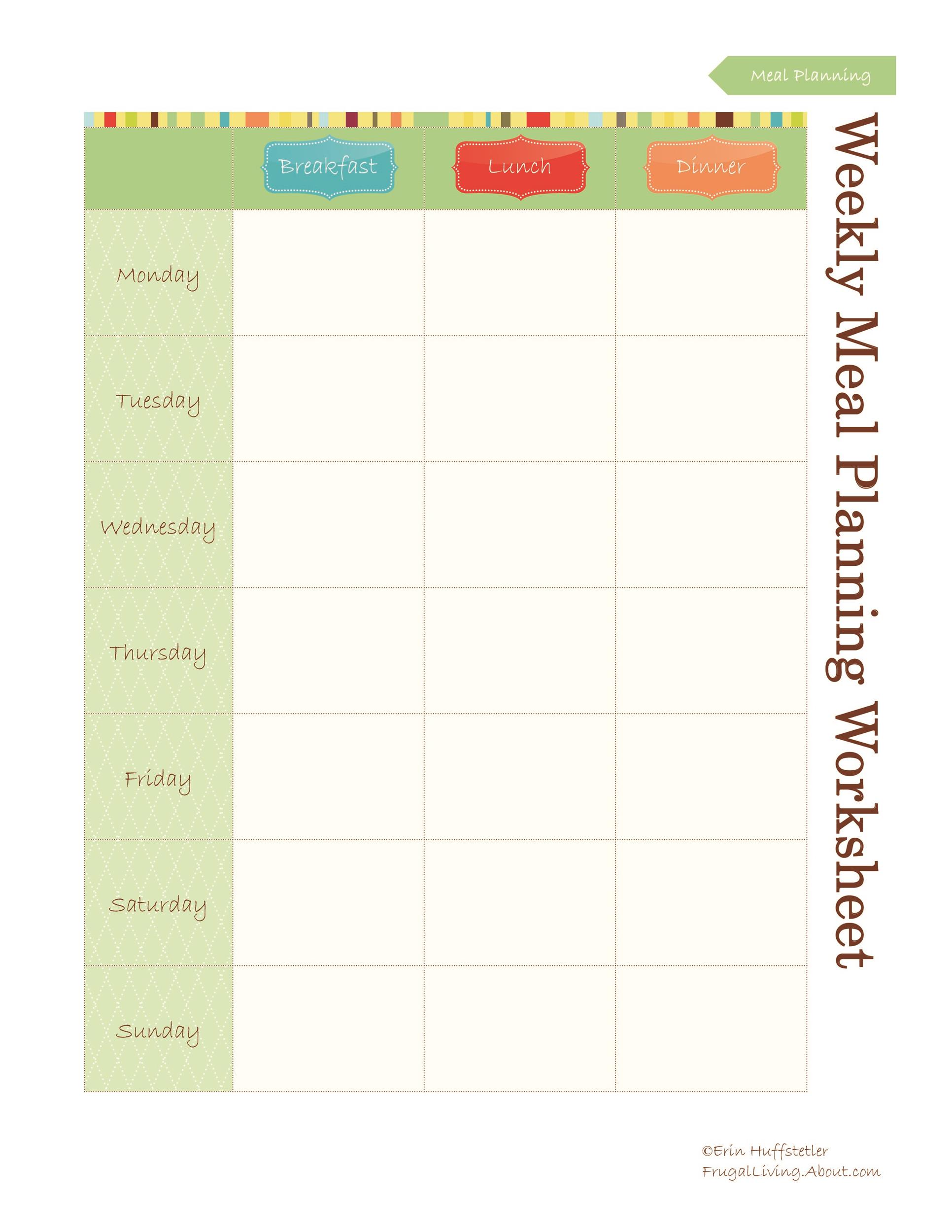 Free Meal Plan Template 08