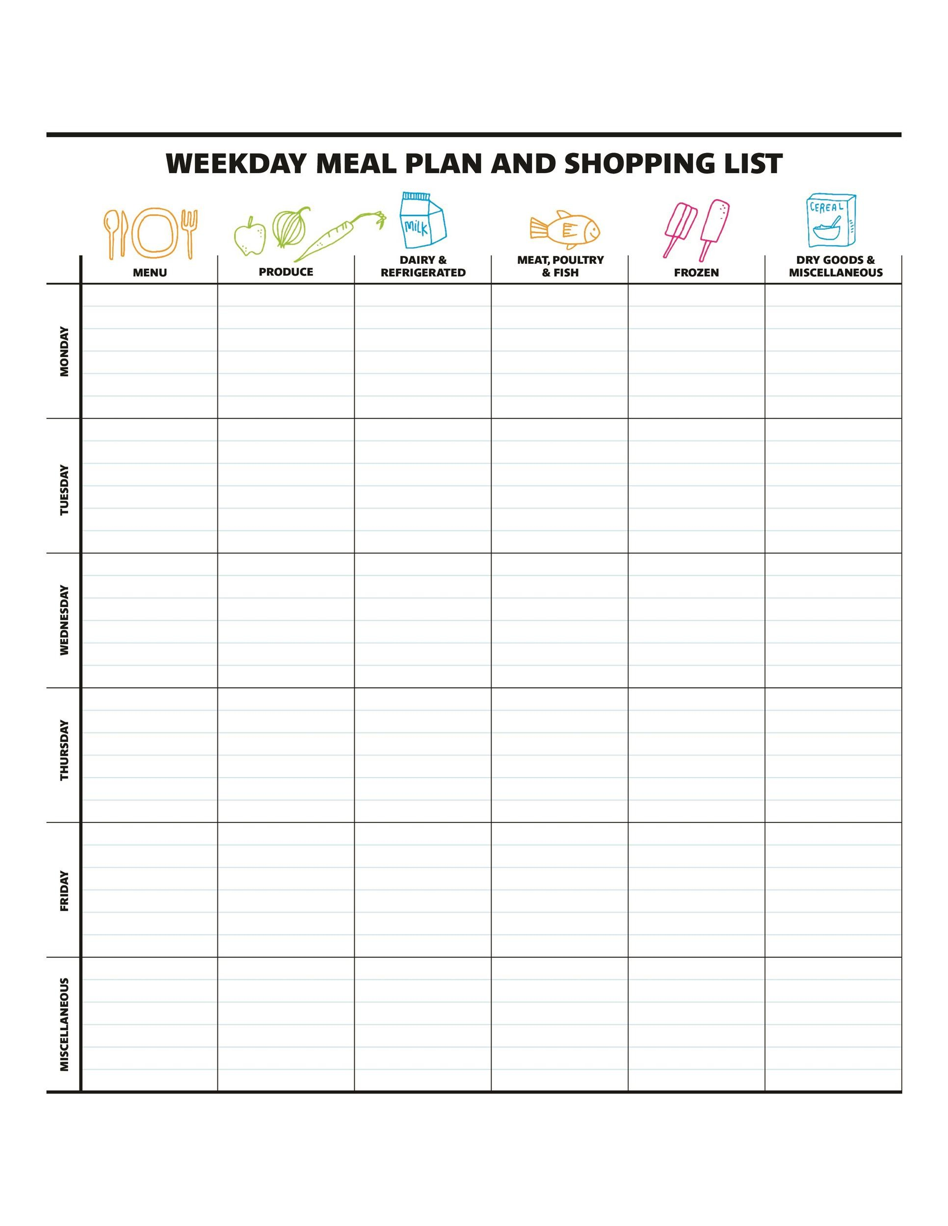 photo relating to Weekly Menu Planner Printable referred to as 40+ Weekly Supper Building Templates ᐅ Template Lab