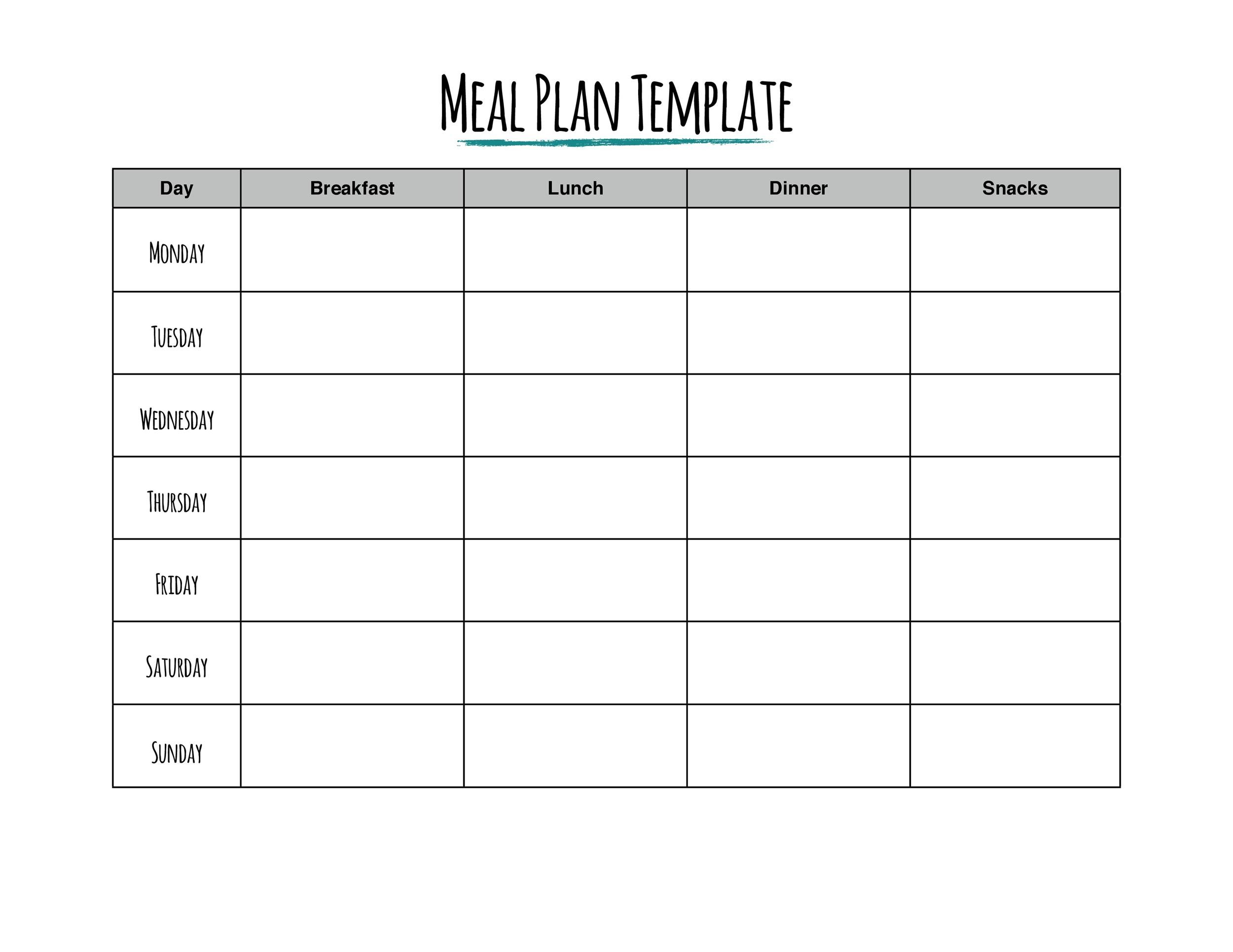 It is an image of Unforgettable Free Printable Meal Plan Template