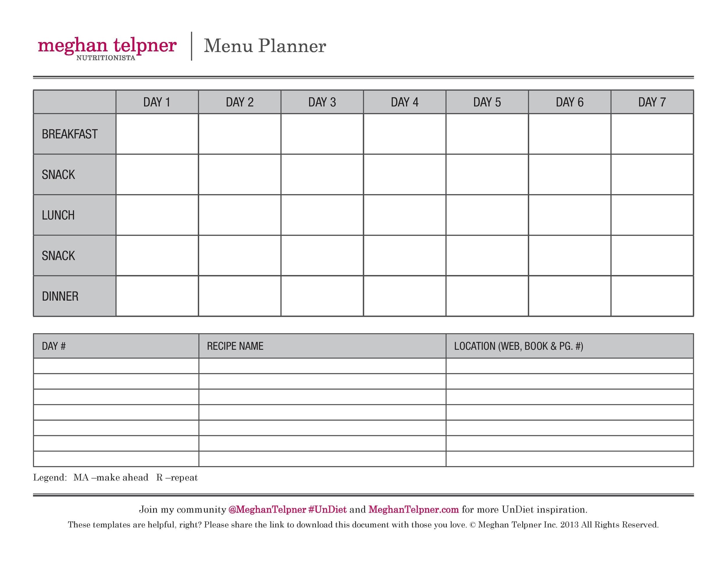 graphic about Free Printable Meal Planner Template known as 40+ Weekly Dinner Creating Templates ᐅ Template Lab
