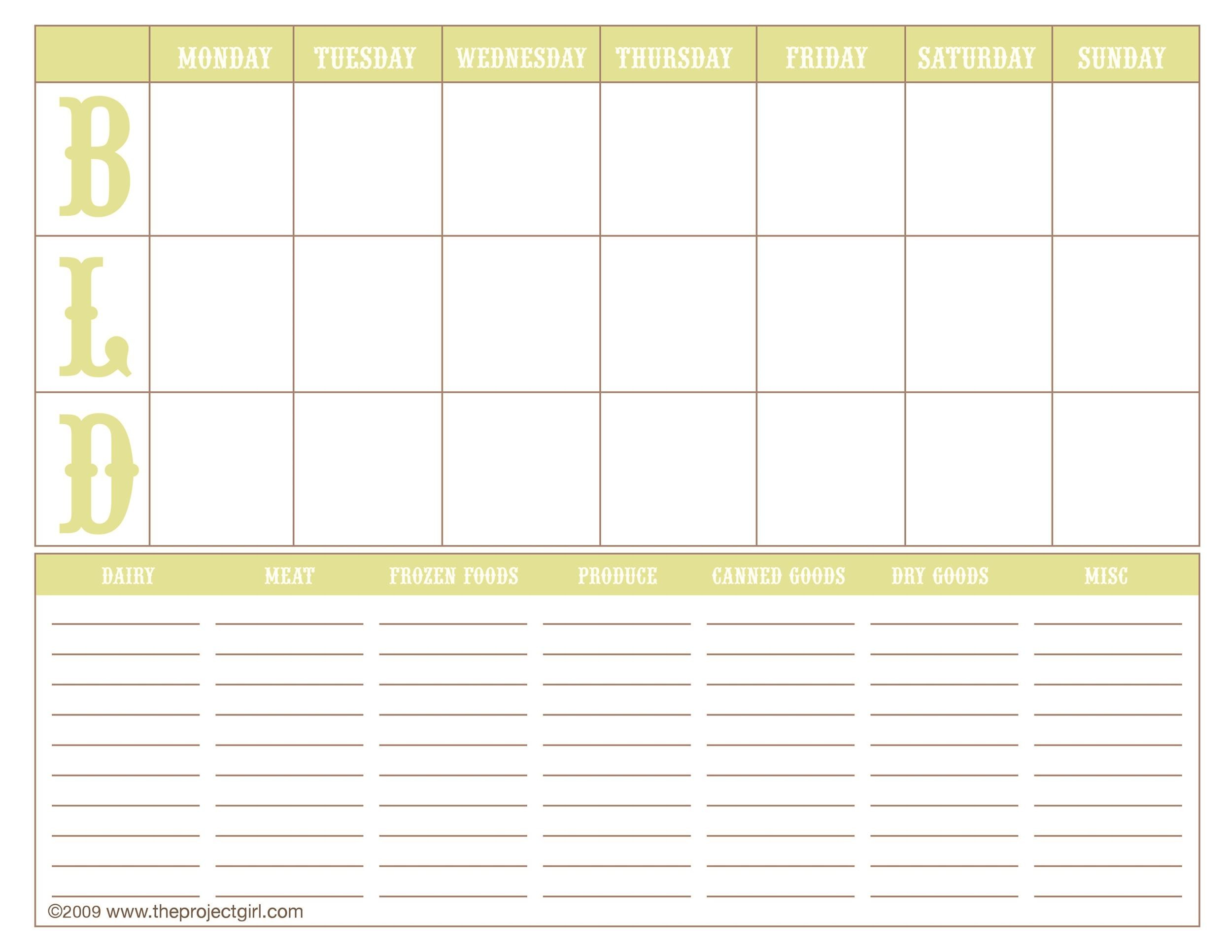 Free Meal Plan Template 18
