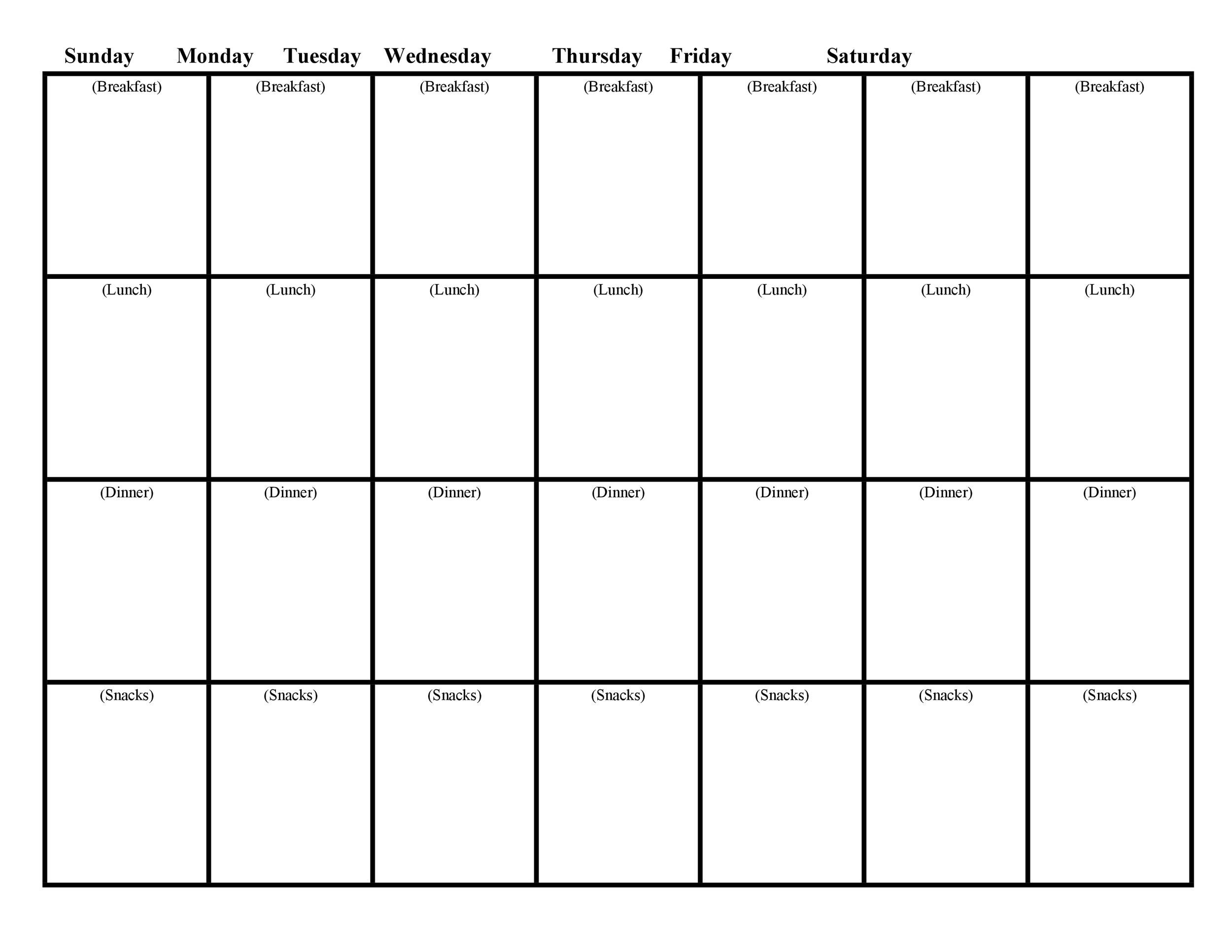Free Meal Plan Template 20