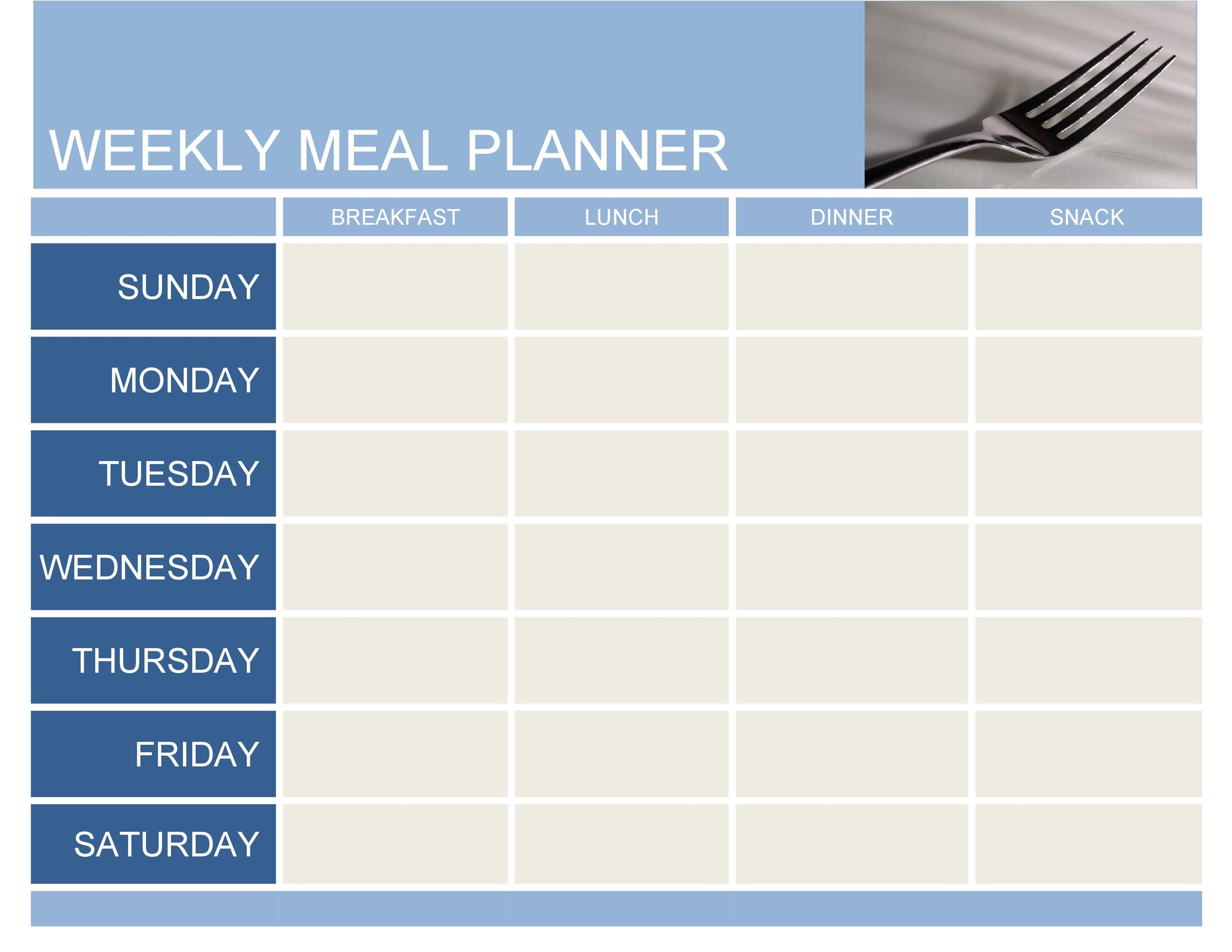 40 Weekly Meal Planning Templates Á… Templatelab