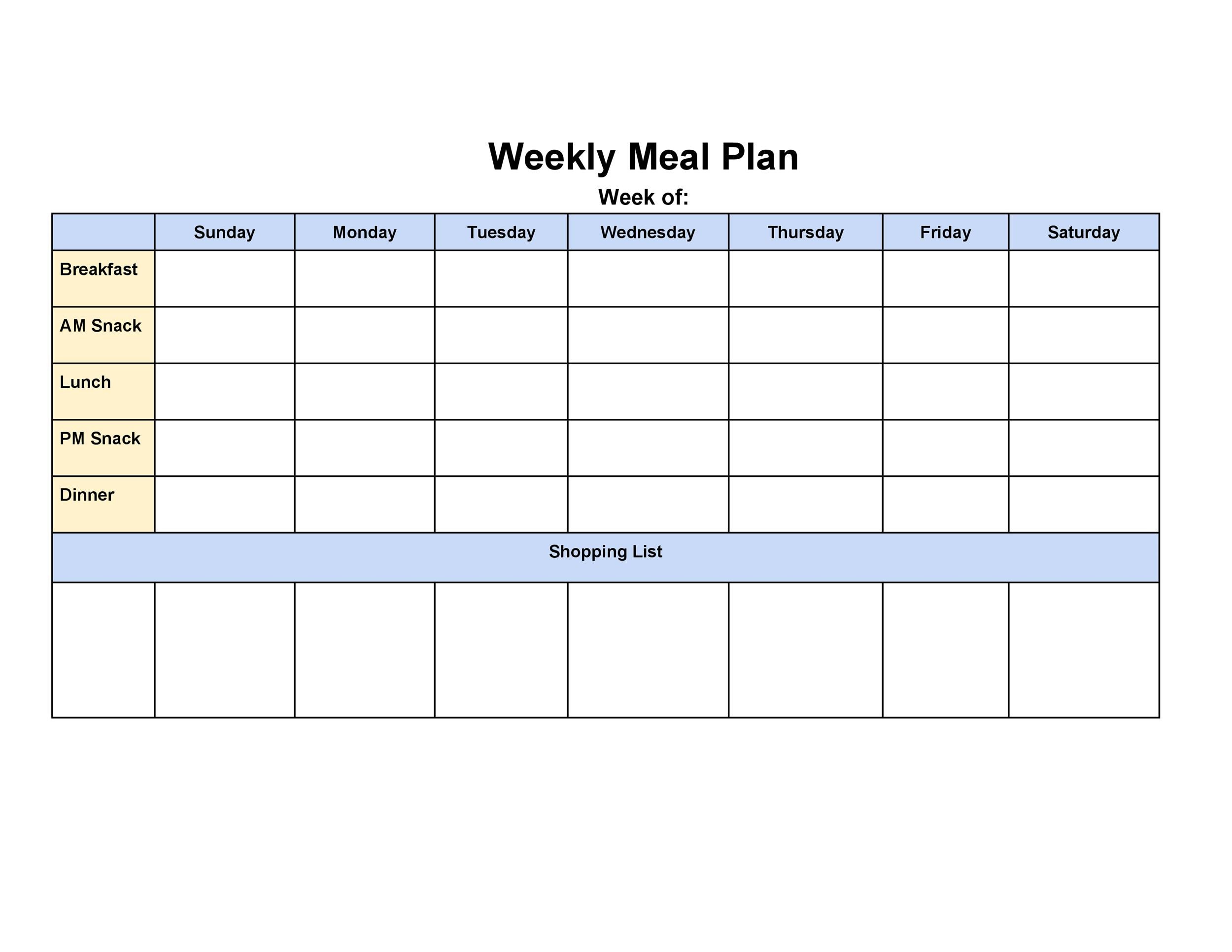 Free Meal Plan Template 26