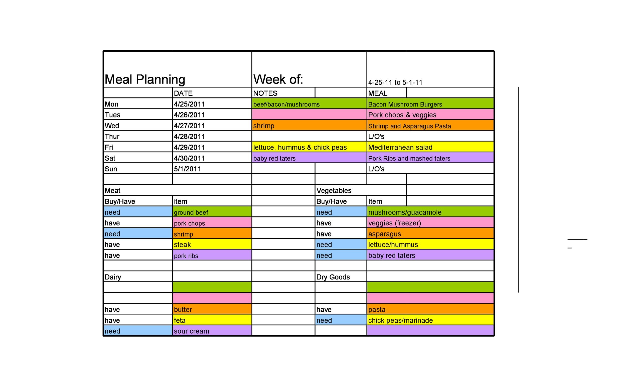 Free Meal Plan Template 27