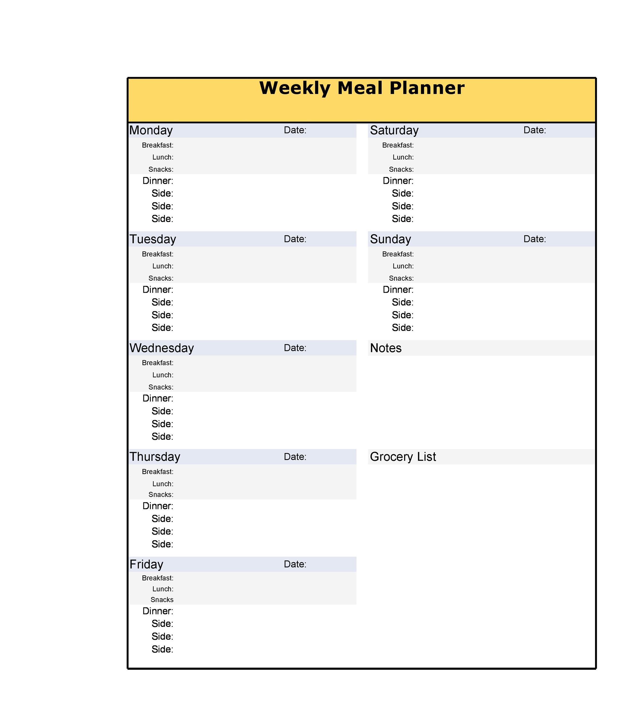 40+ Weekly Meal Planning Templates - Template Lab