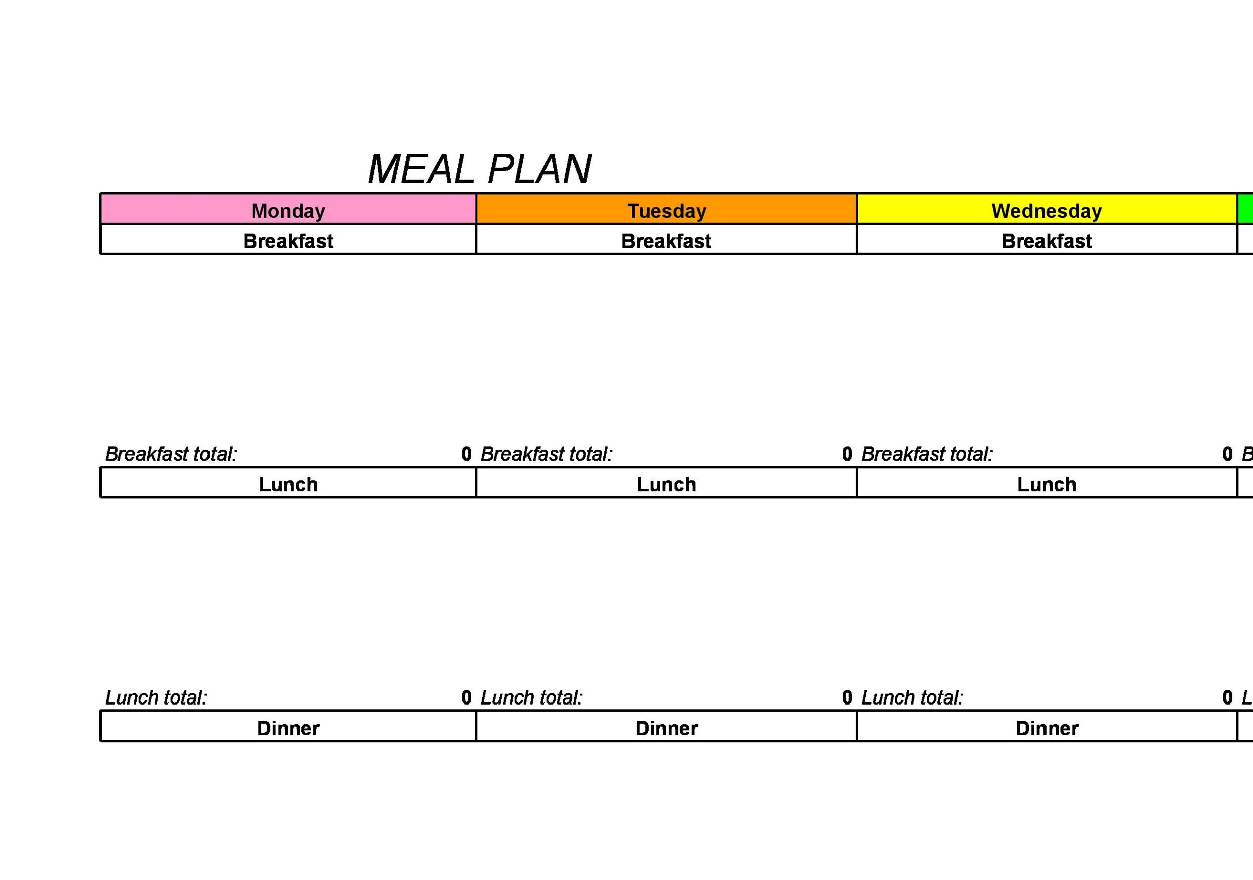 Free Meal Plan Template 29