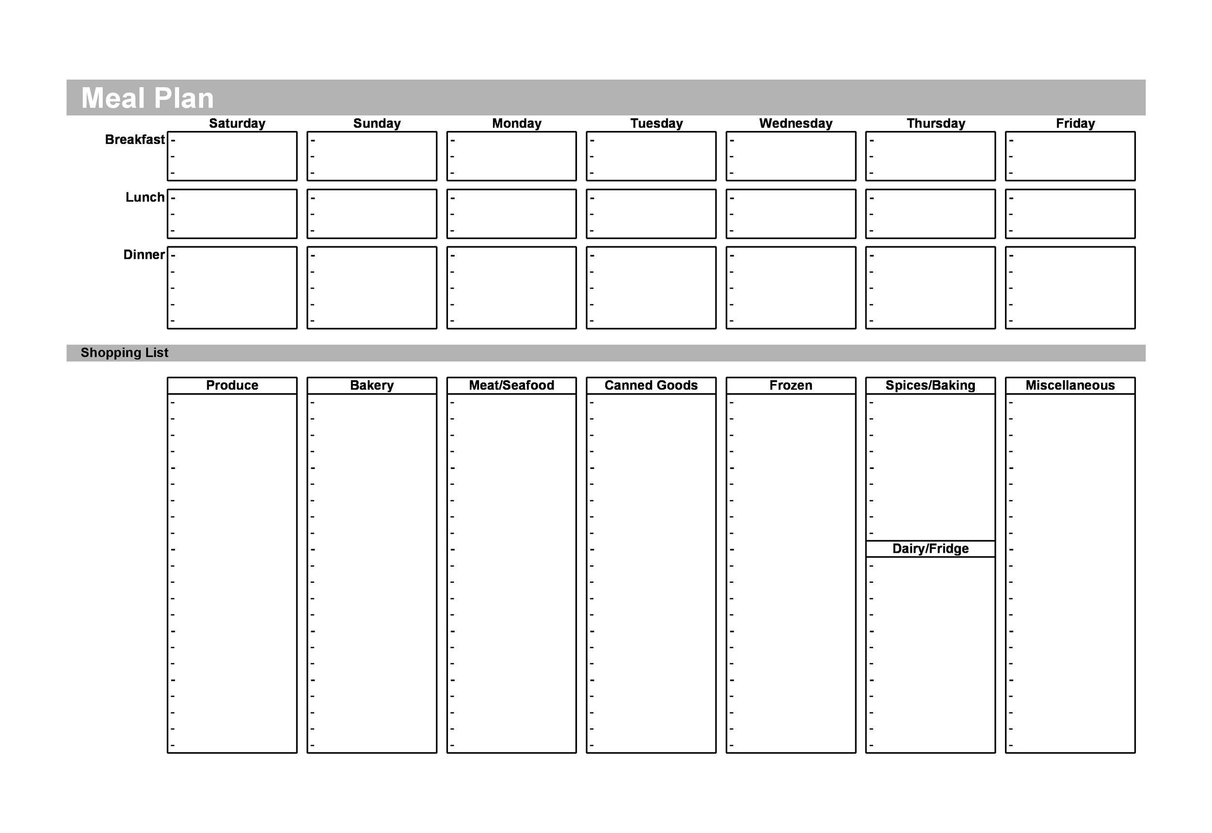 Free Meal Plan Template 30
