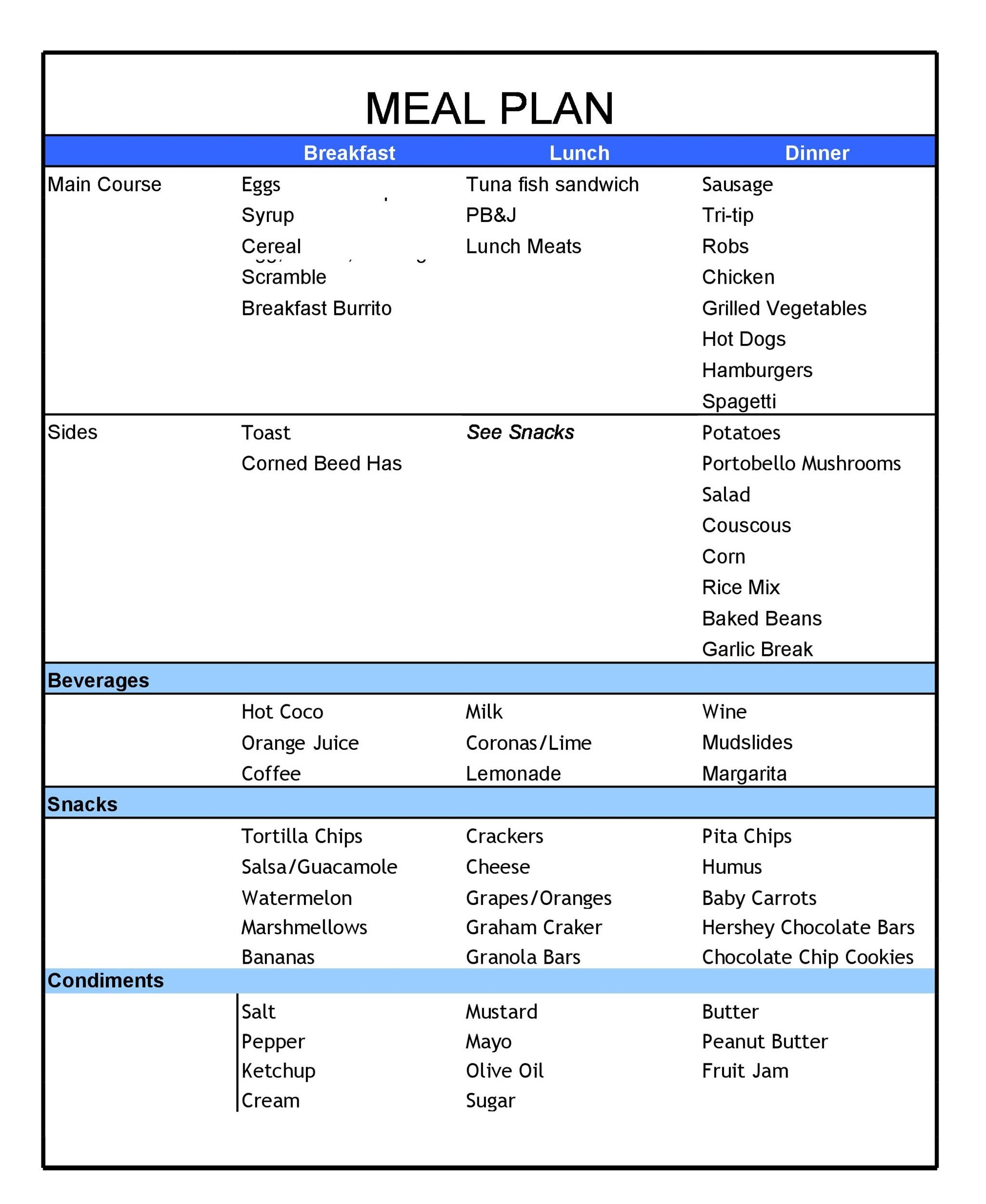 Free Meal Plan Template 31
