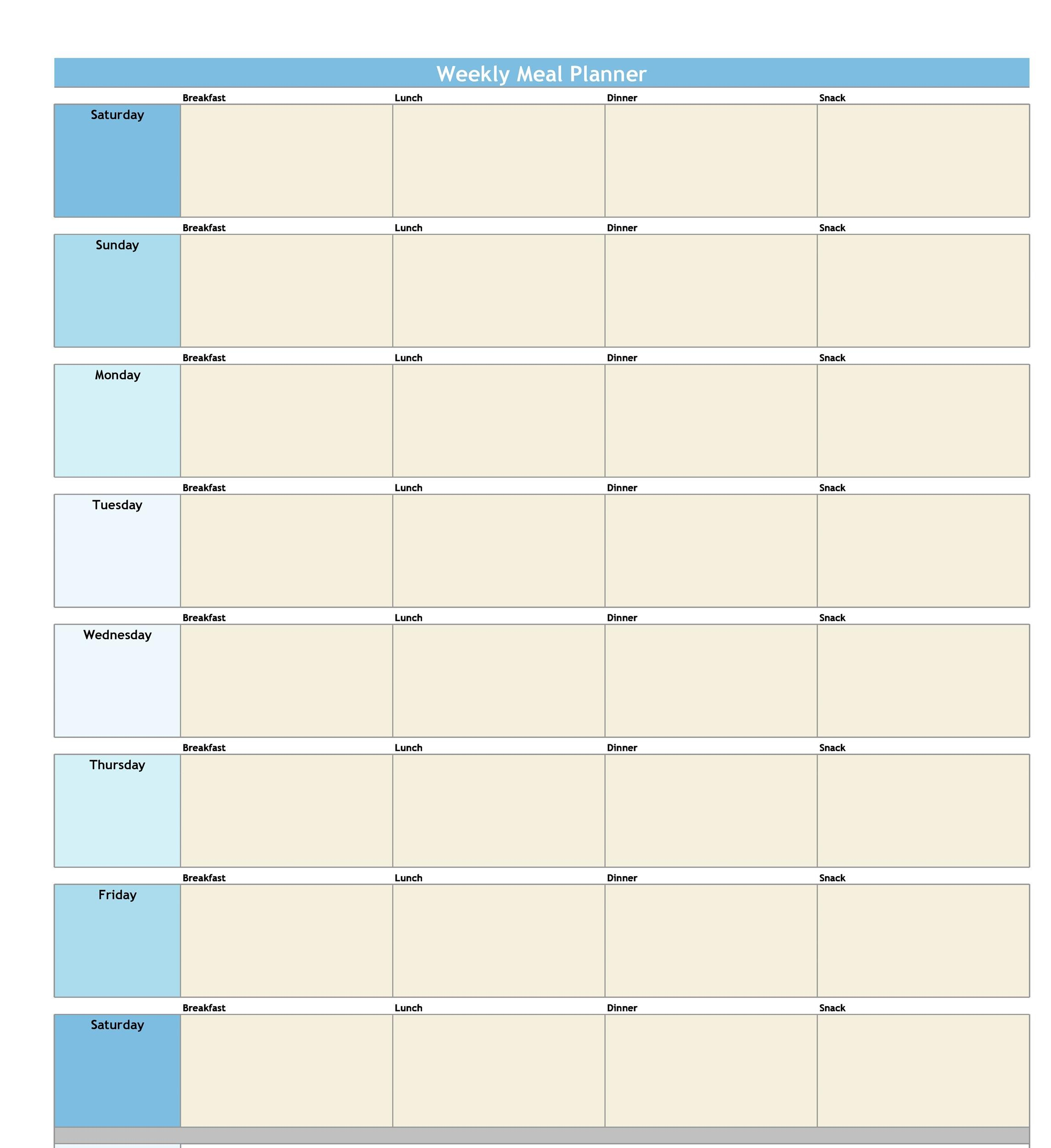 Free Meal Plan Template 32