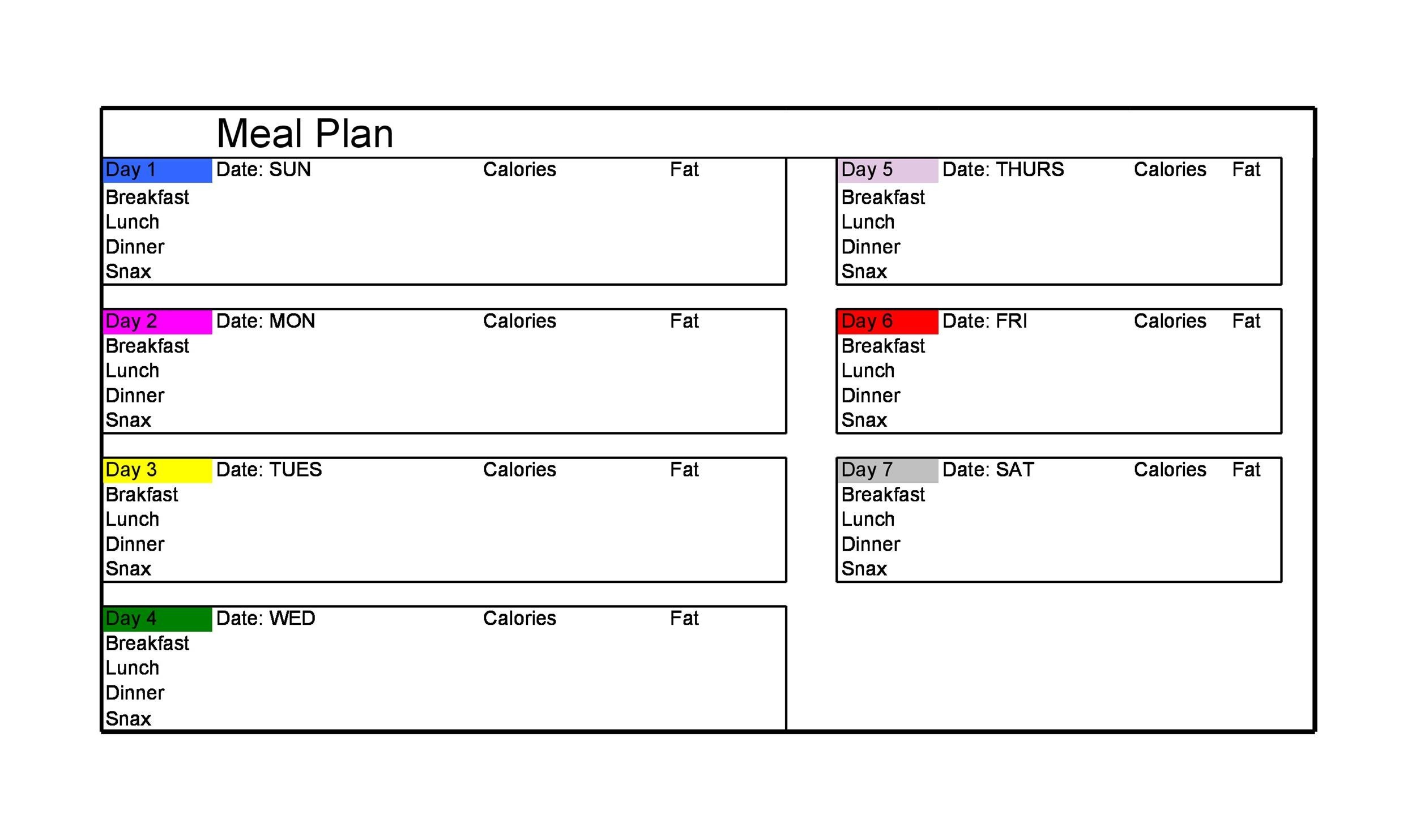 Free Meal Plan Template 35