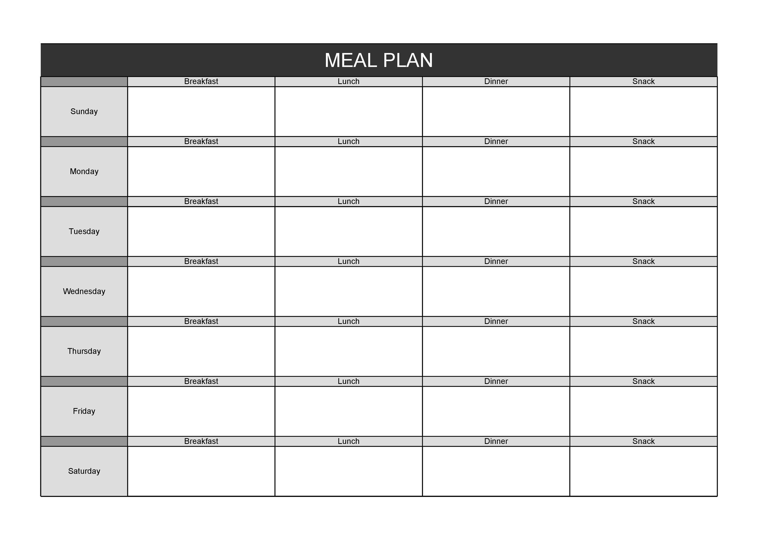 It's just a photo of Gorgeous Free Printable Meal Plan Template