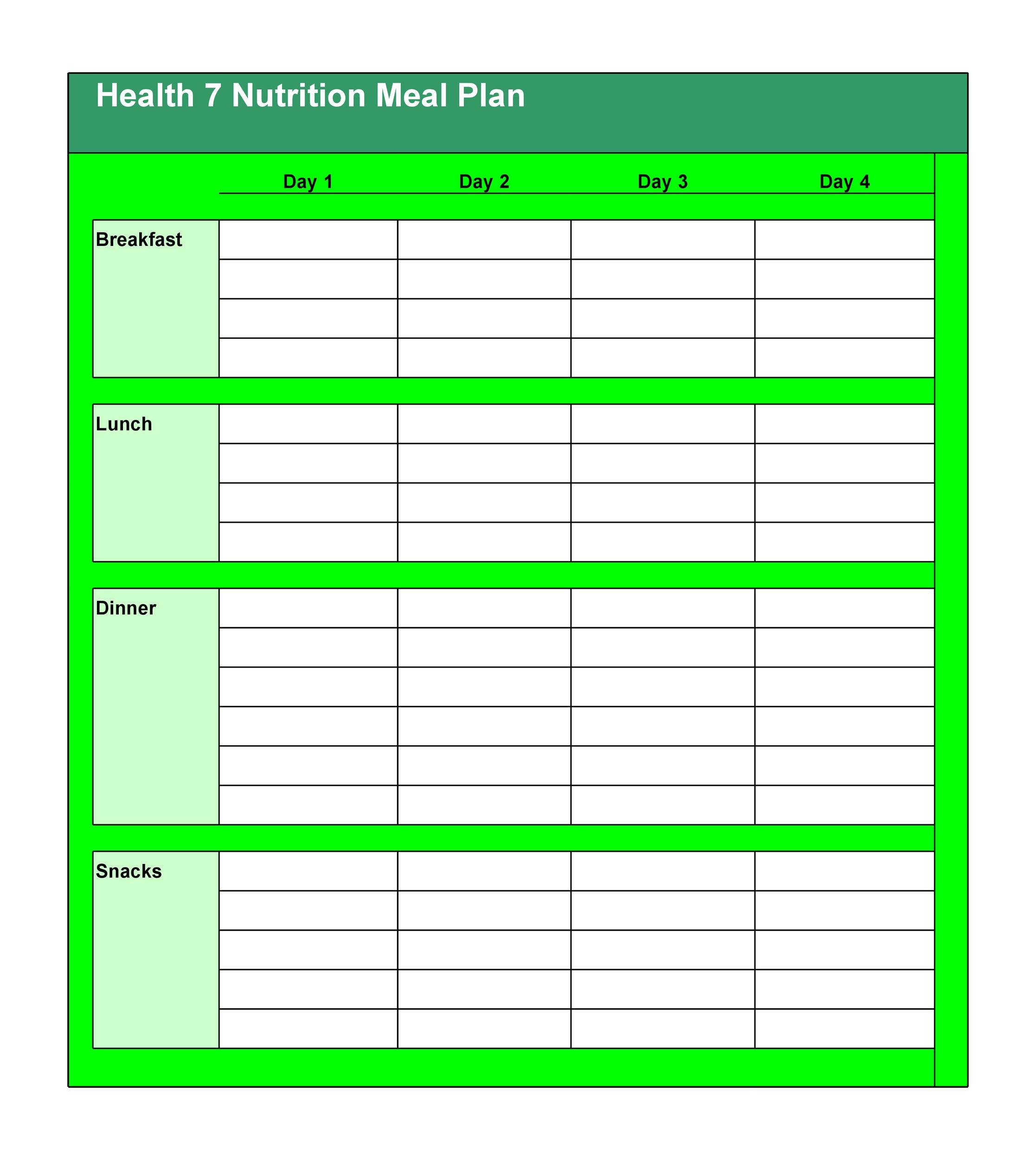 Free Meal Plan Template 38