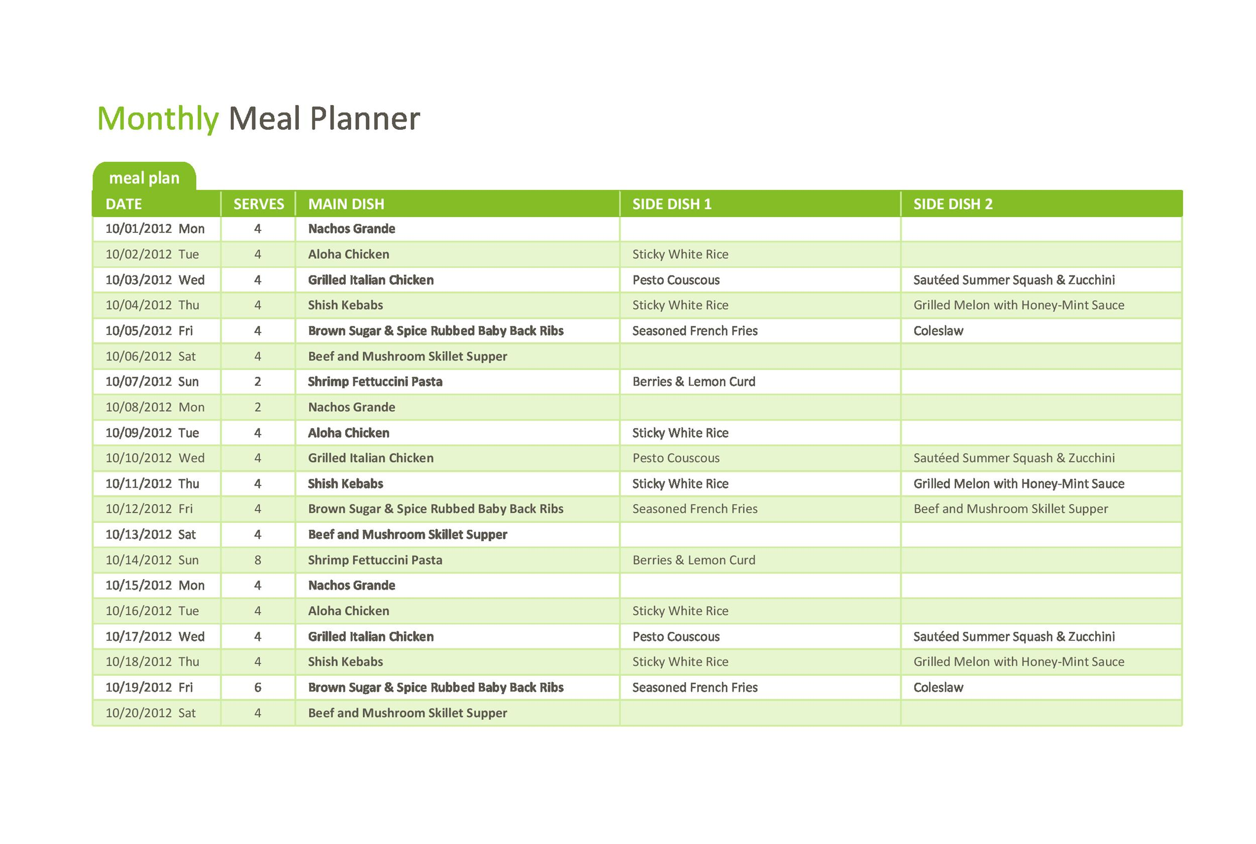 Free Meal Plan Template 39