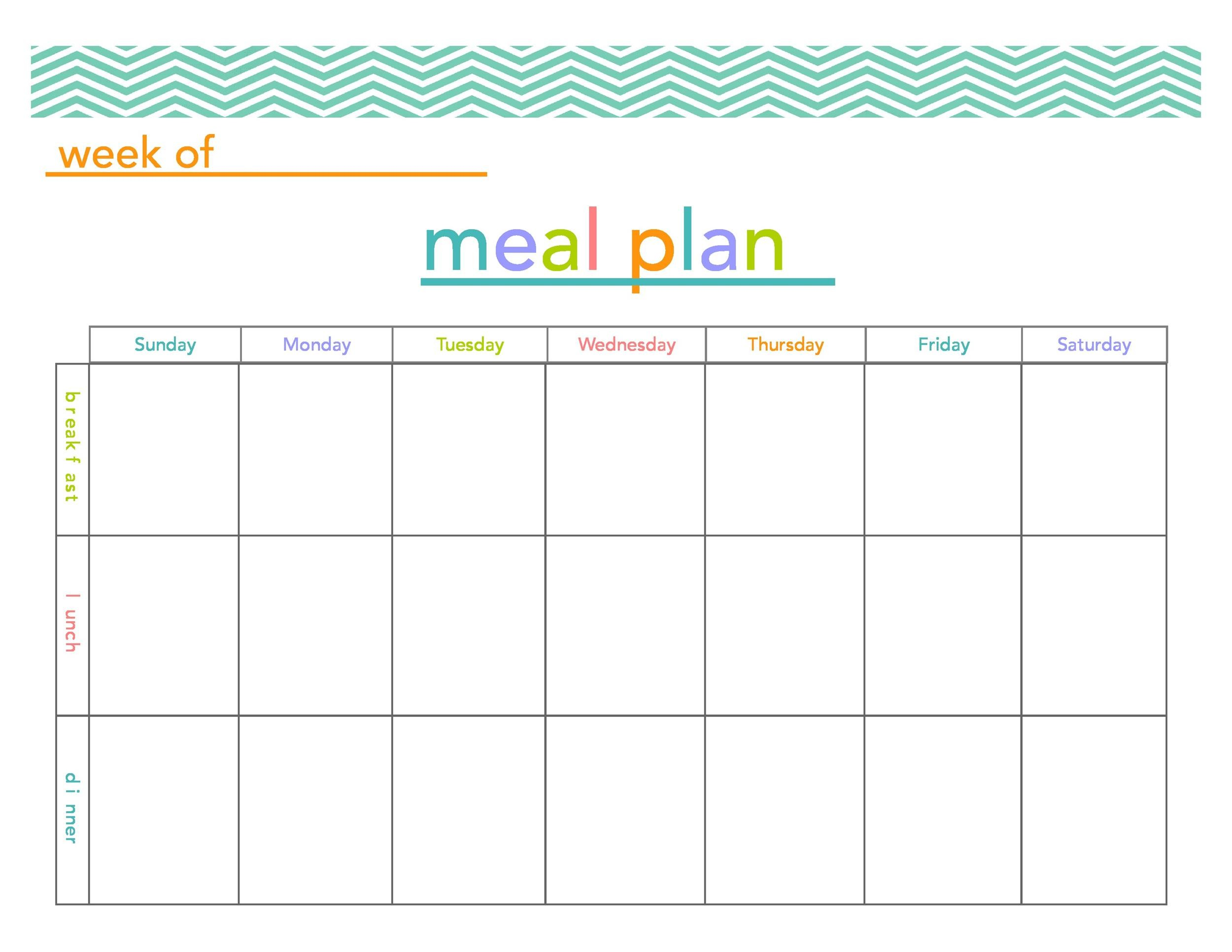 Free Meal Plan Template 41