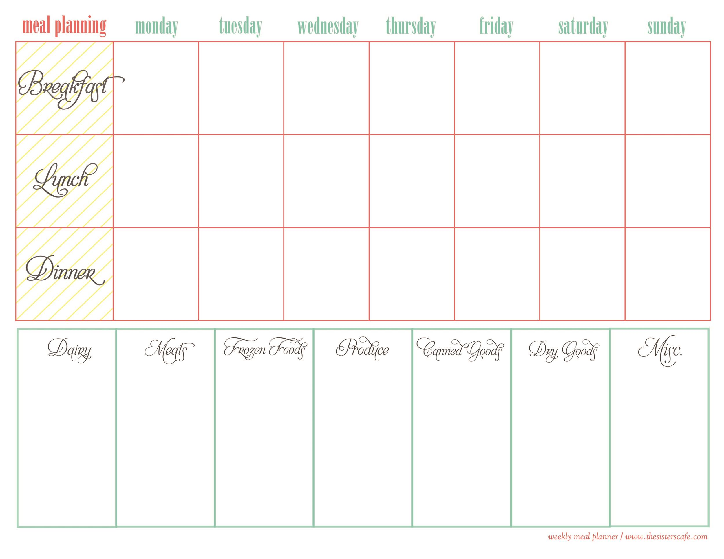photograph regarding Free Printable Meal Planner Template called 40+ Weekly Dinner Creating Templates ᐅ Template Lab