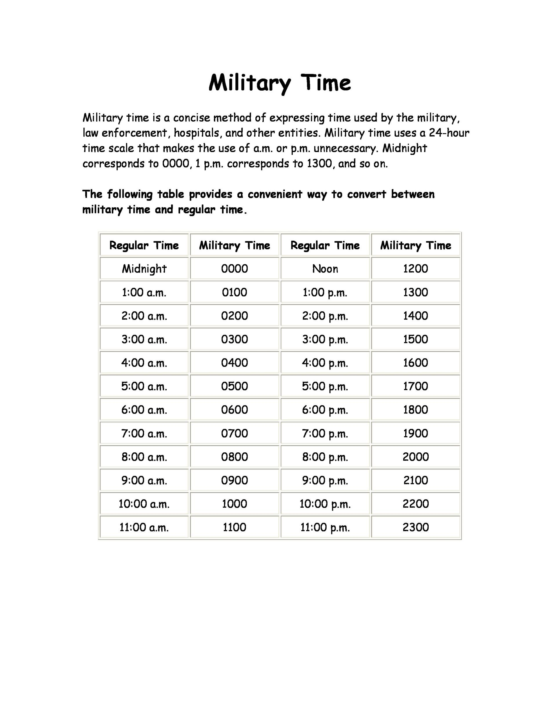 Free Military Time Chart Template 01