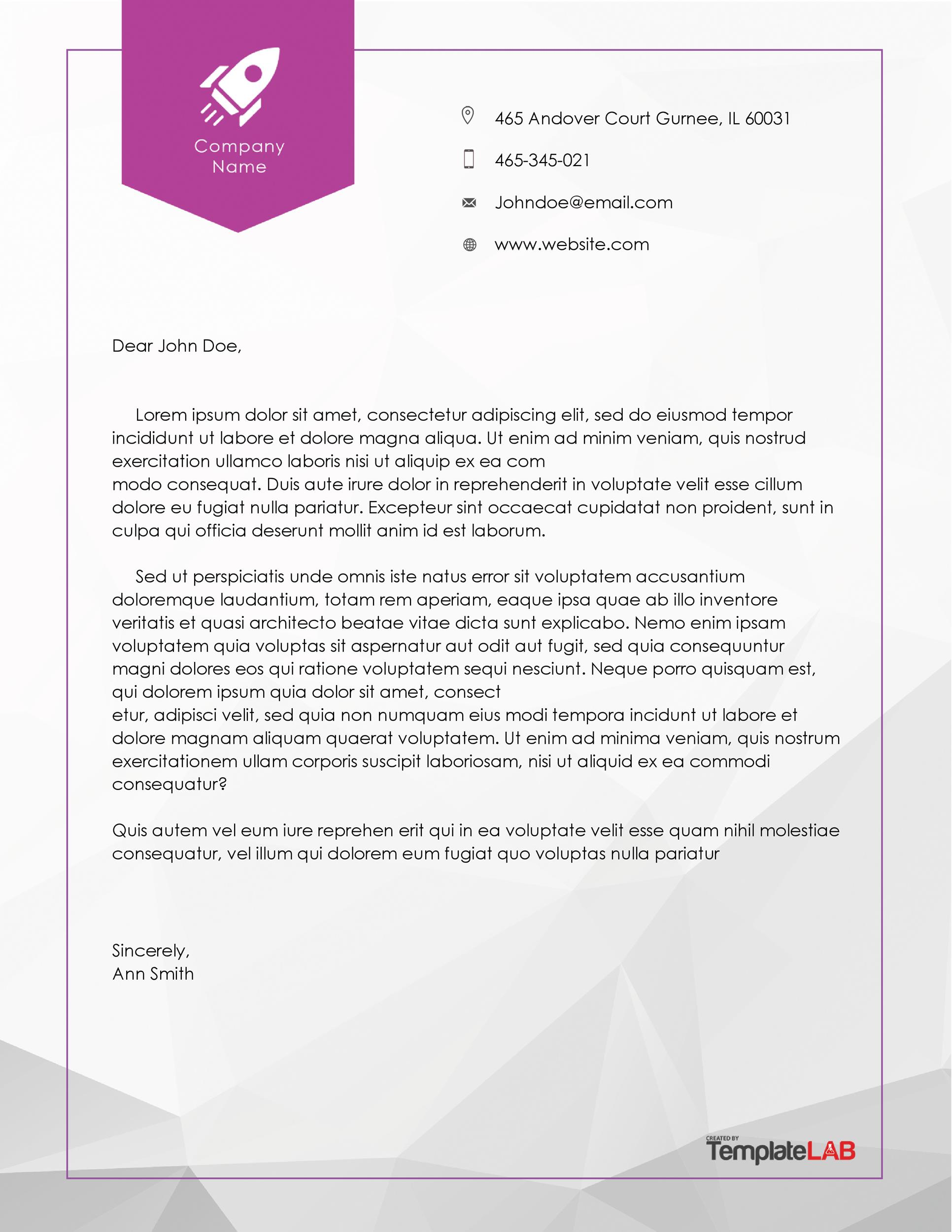 45 Free Letterhead Templates and Examples Company Business Personal – Business Letter Heading Template
