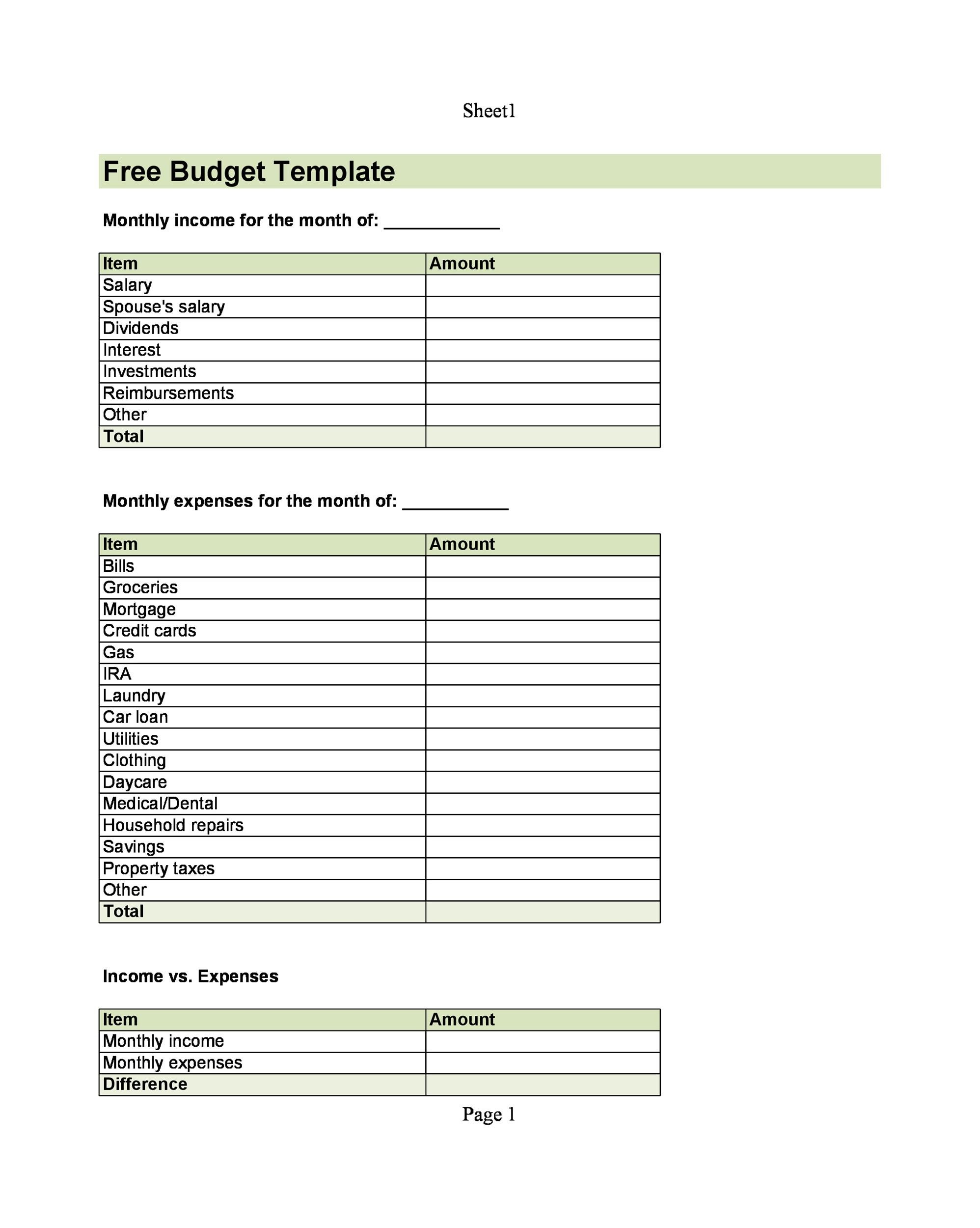 Free Budget Template 02