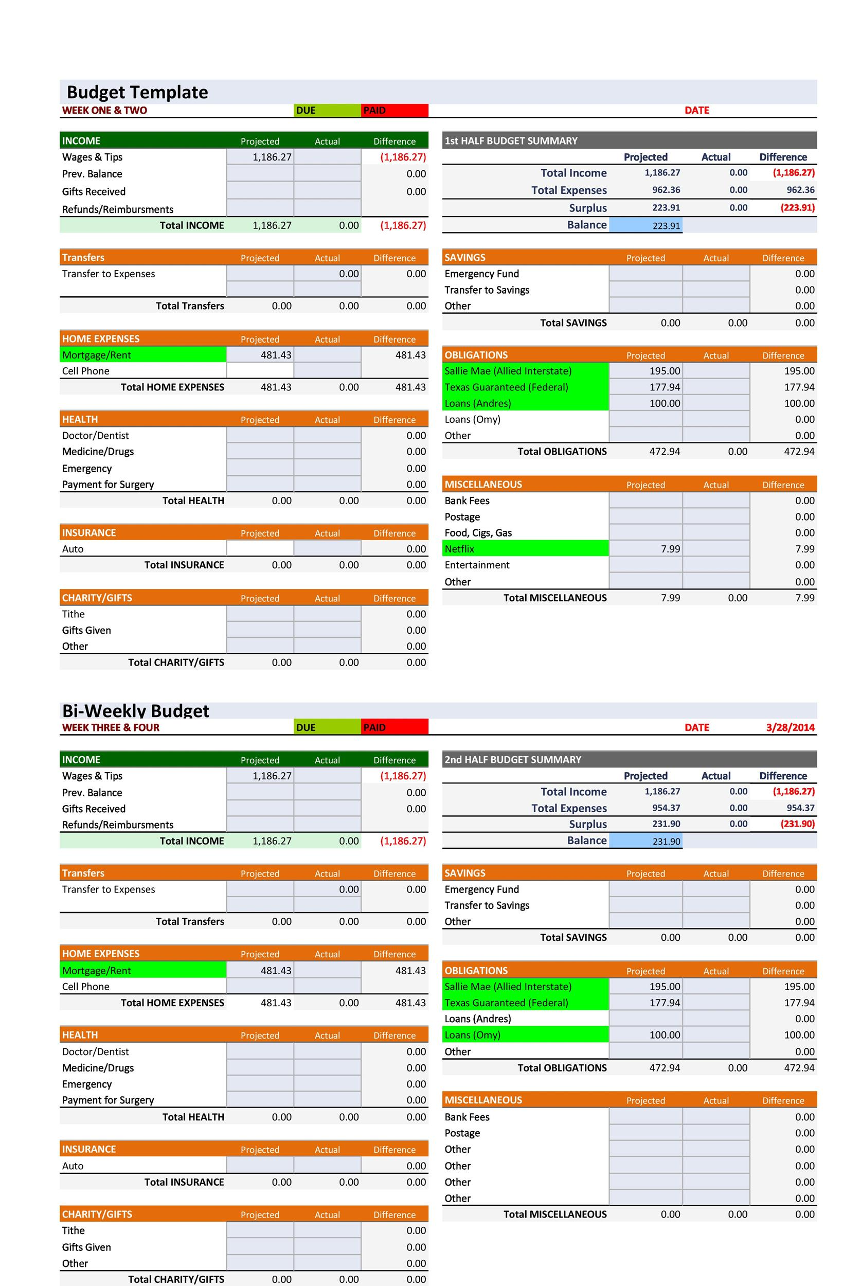 Free Budget Template 23