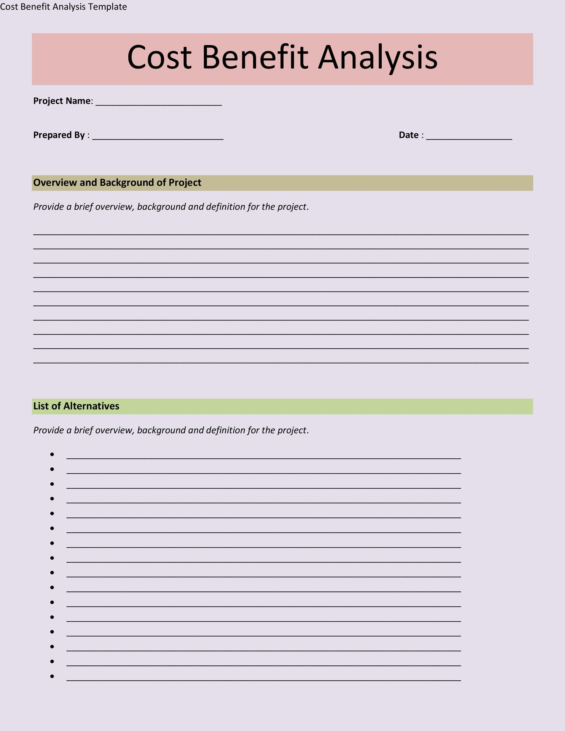 Cost Benefit Analysis Template Word