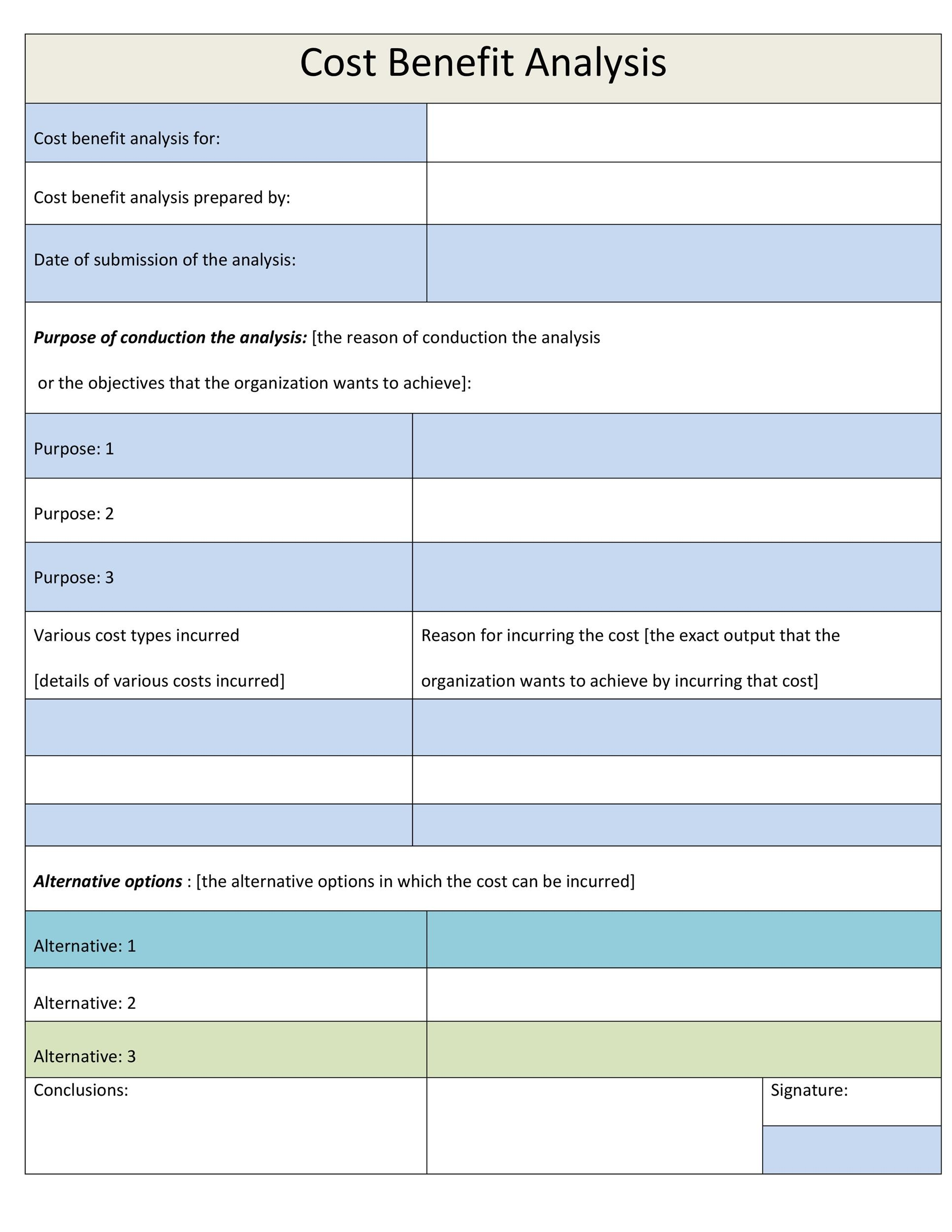 Free Cost Benefit Analysis Template 12