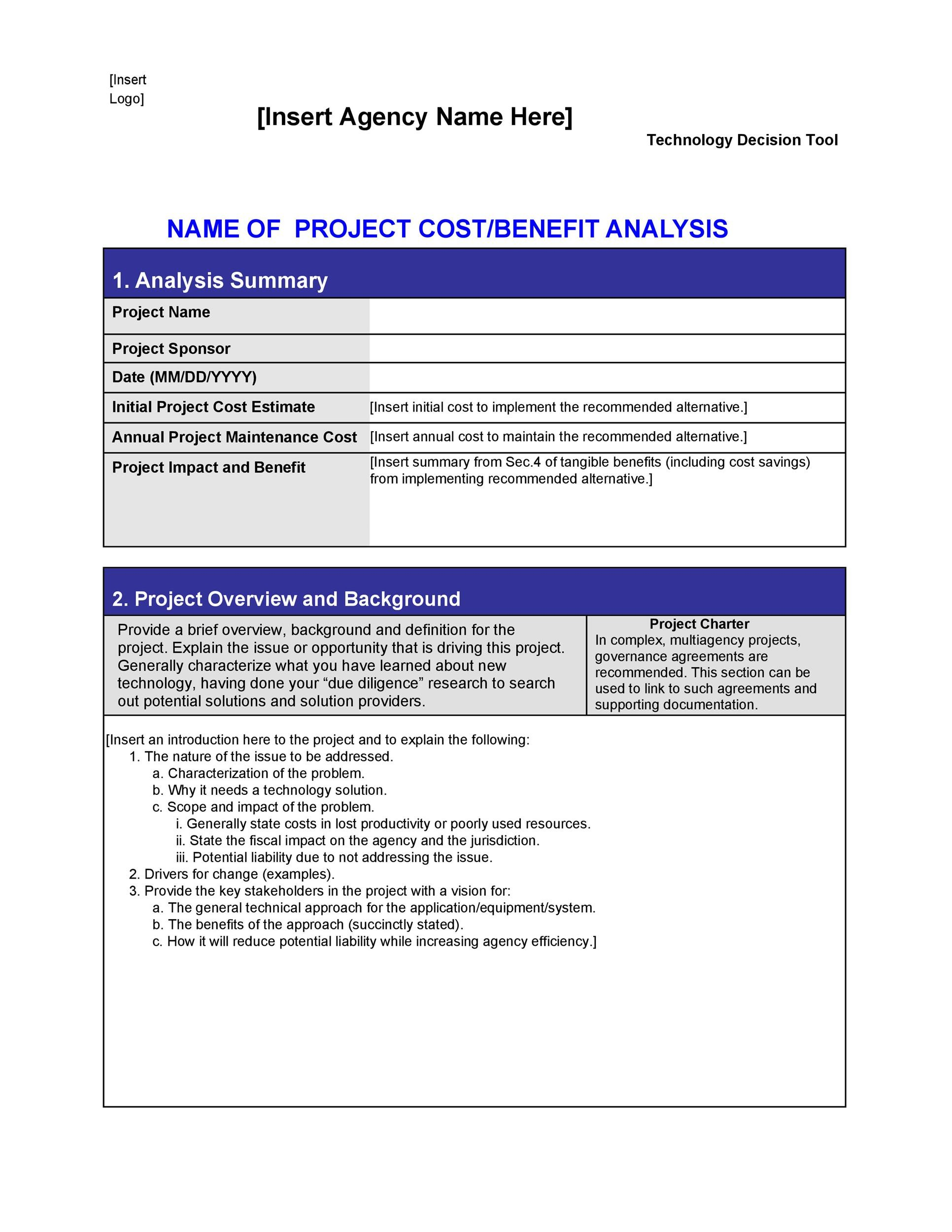 Free Cost Benefit Analysis Template 25