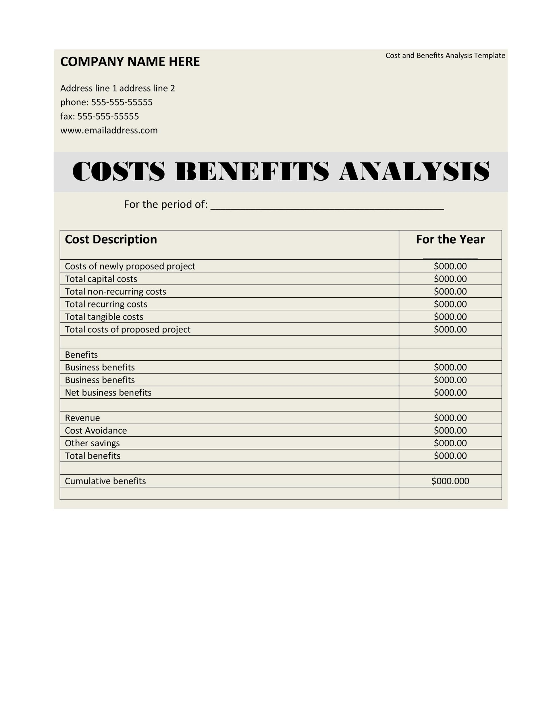 Free Cost Benefit Analysis Template 30