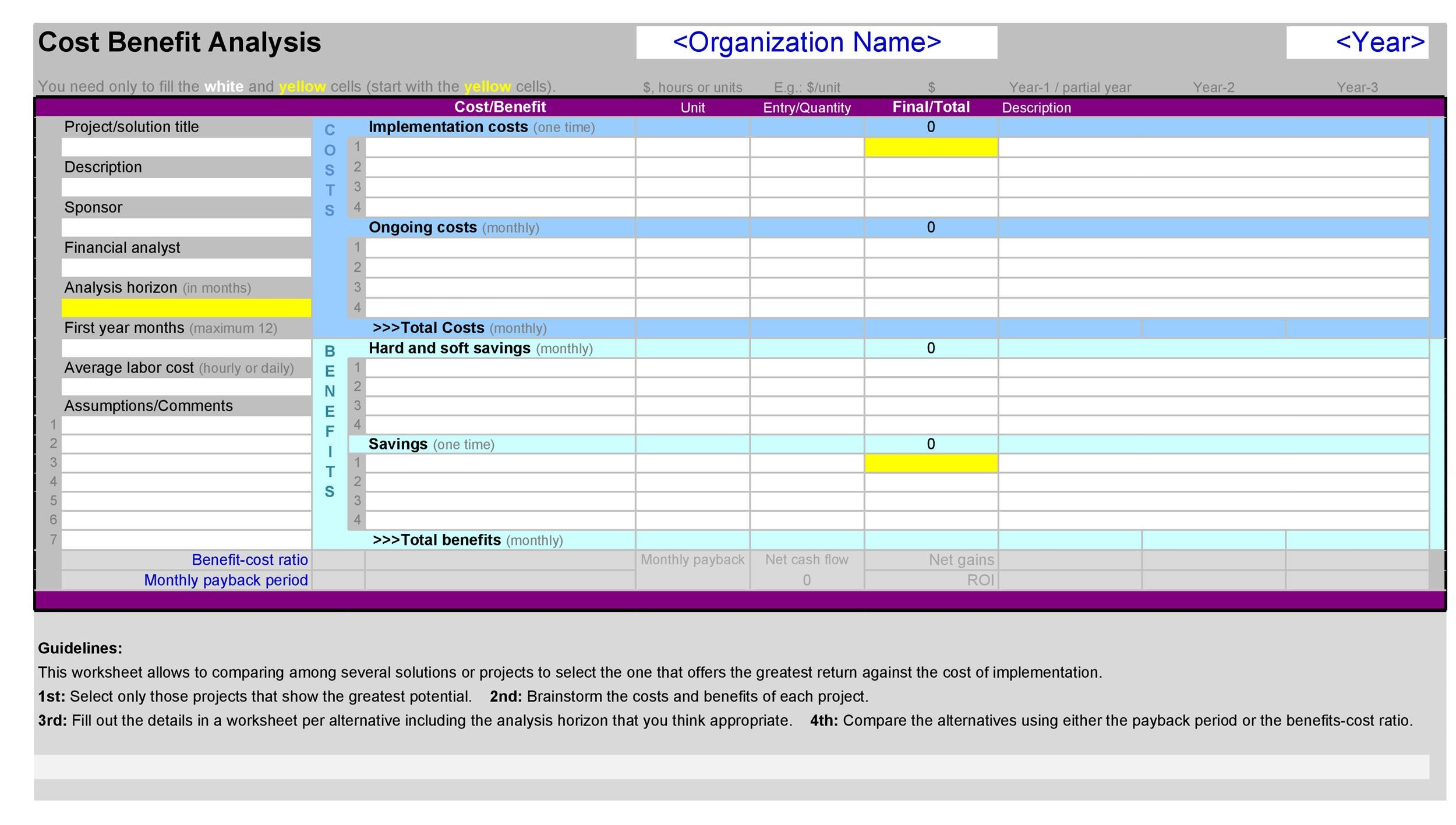 Cost Benefit Analysis Template 31