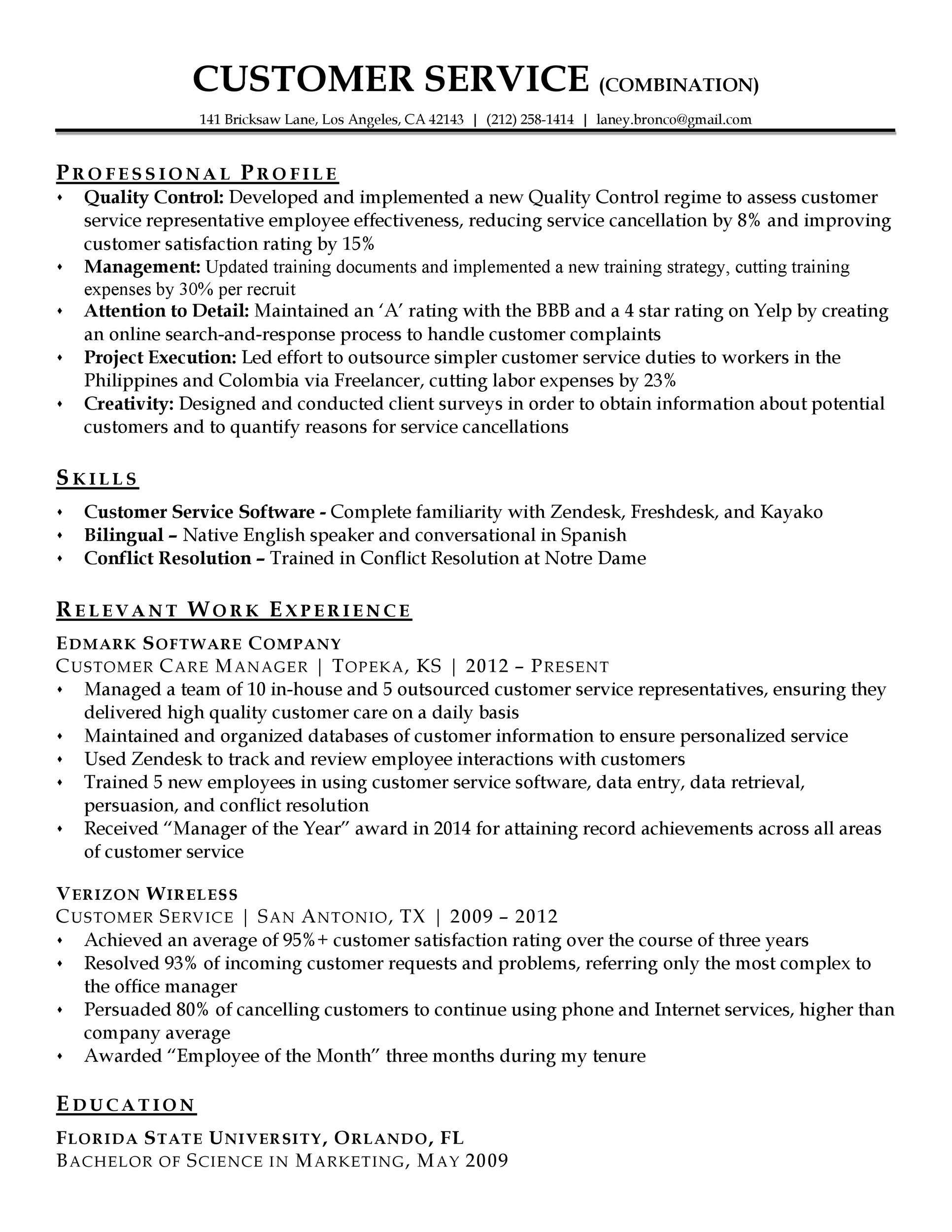 printable customer service resume template 01 - Free Customer Service Resume Templates