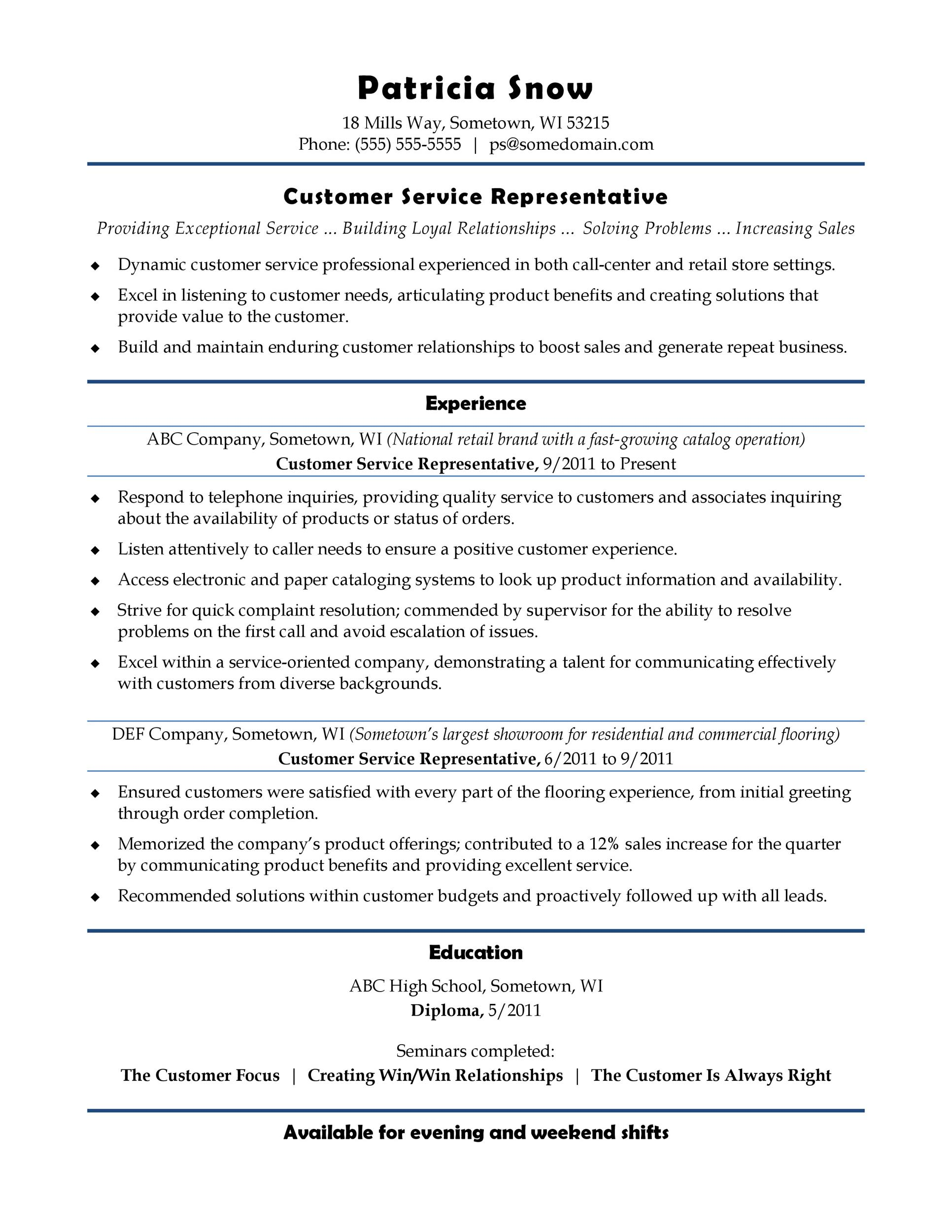 free resume samples for customer service jobs