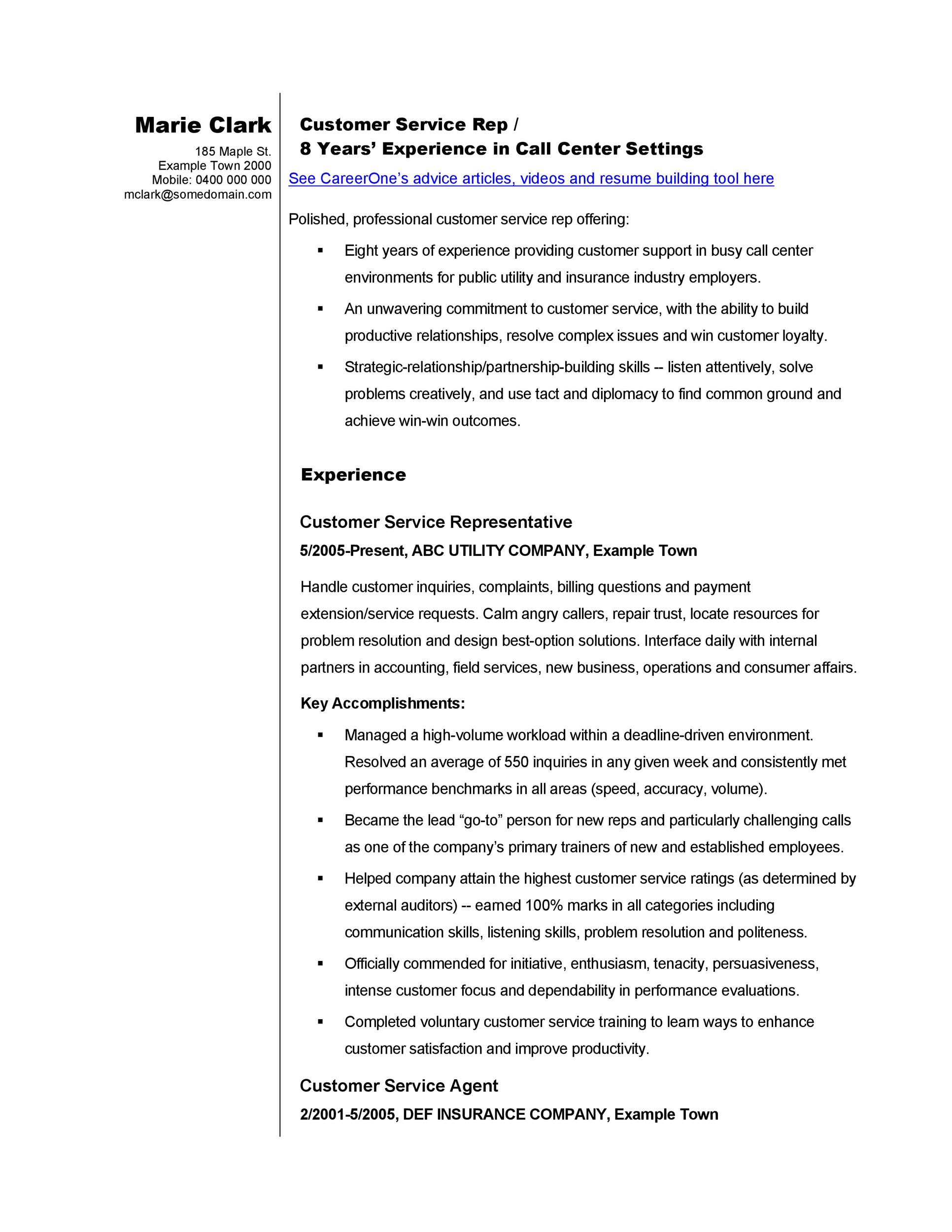 customer service resume template 03 - Customer Service Resumes Templates