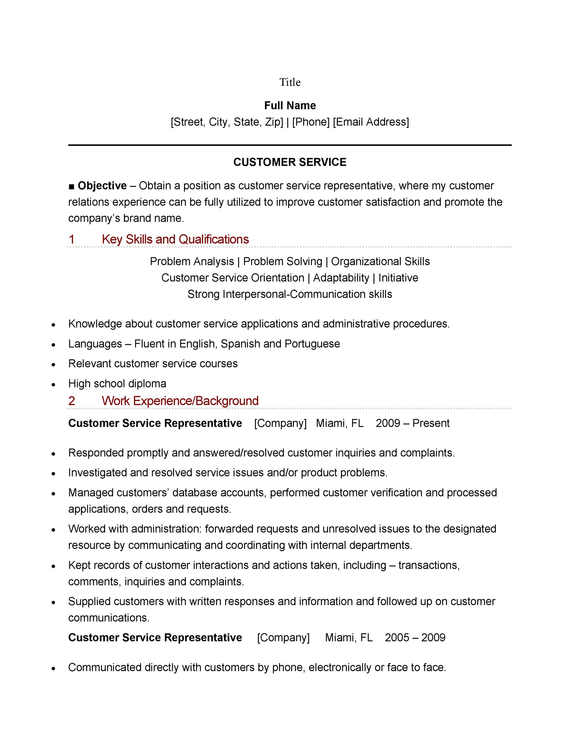 Printable Customer Service Resume Template 04  Customer Representative Resume